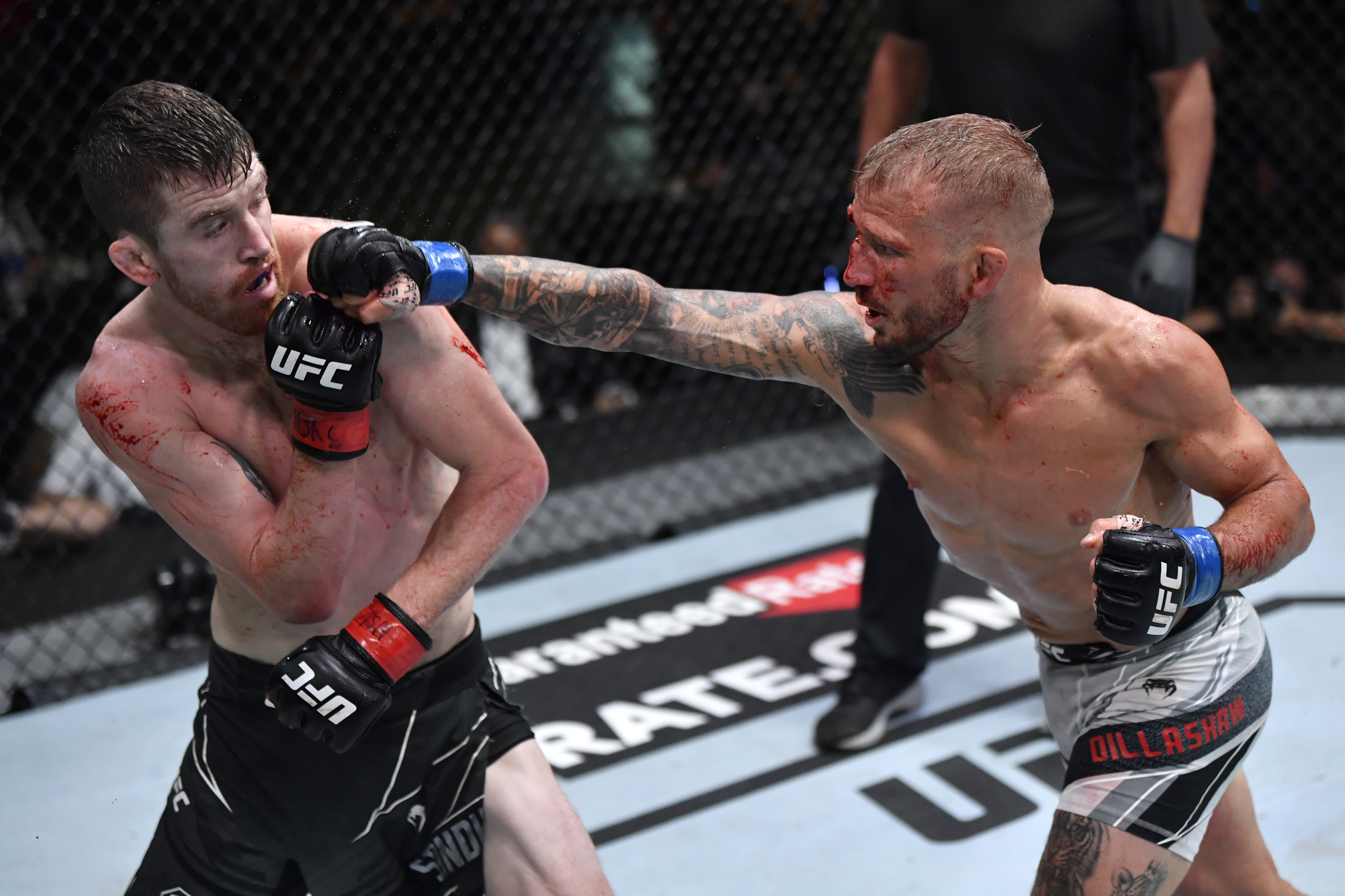 Cory Sandhagen and T.J. Dillashaw during their fight at UFC Vegas 32.