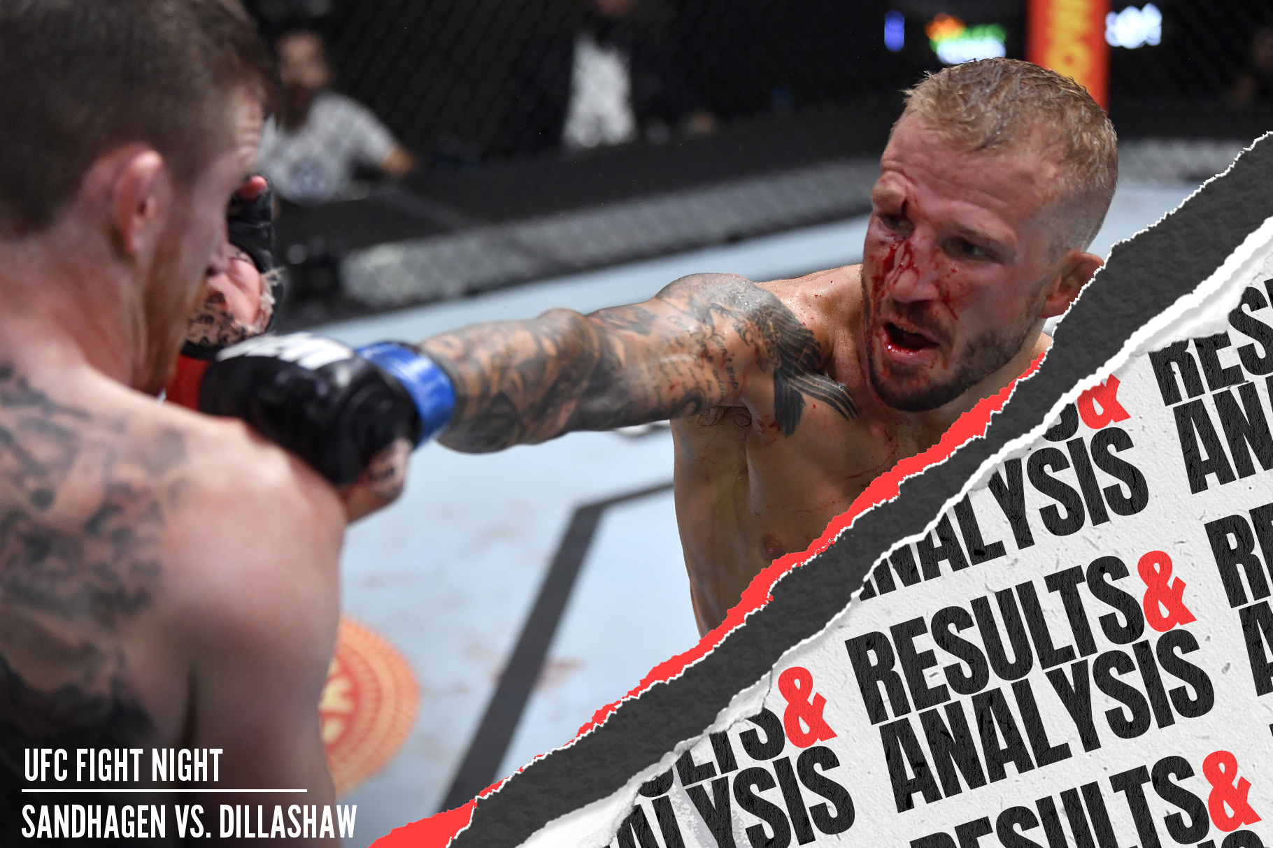 TJ Dillashaw punches Cory Sandhagen in the UFC Vegas 32 main event.