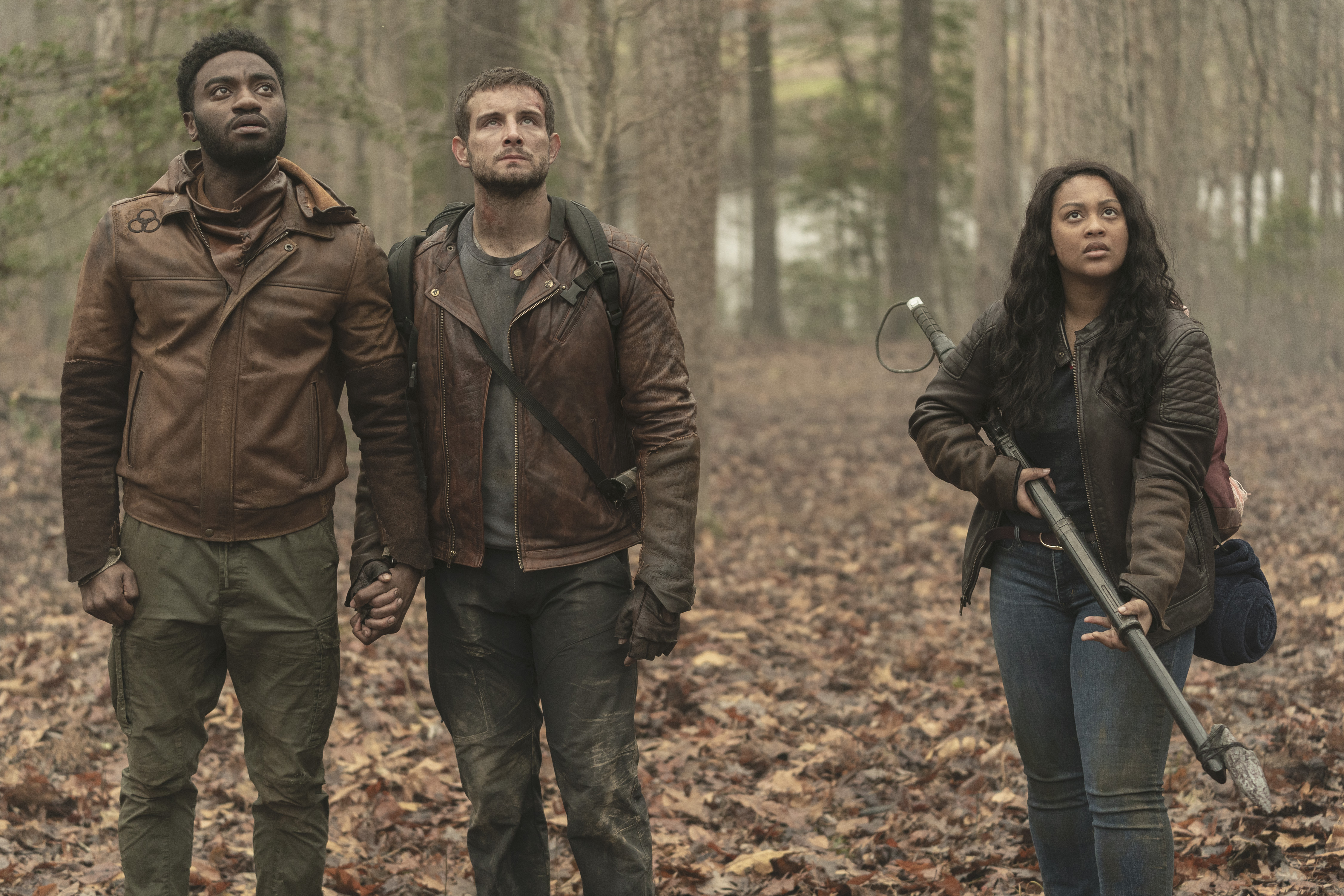 Nico Tortorella as Felix, Aliyah Royale as Iris, Jelani Alladin as Will - The Walking Dead: World Beyond