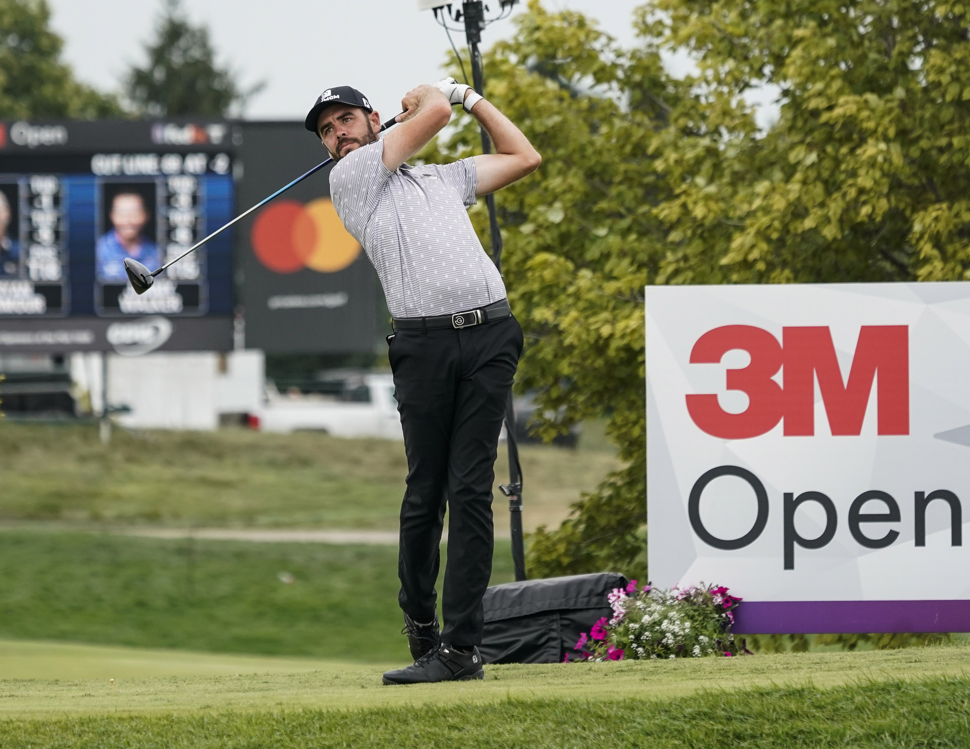 Troy Merritt hits on the 1st tee of the 3M Open on July 23, 2021, at TPC Twin Cities Blaine, Minnesota.
