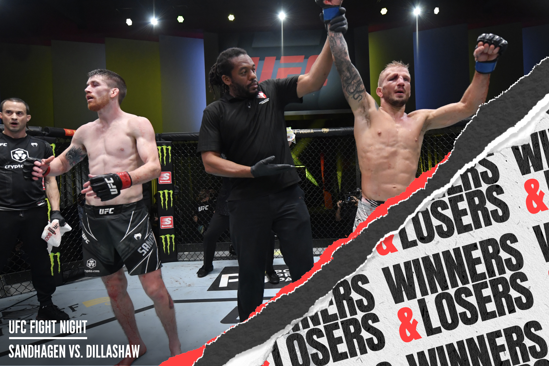 TJ Dillashaw gets his hand raised after a split decision win over Cory Sandhagen at UFC Vegas 32.