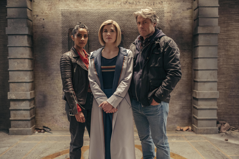 The Doctor (JODIE WHITTAKER) Yasmin Khan (MANDIP GILL), Dan (JOHN BISHOP) stand in an ancient ruin