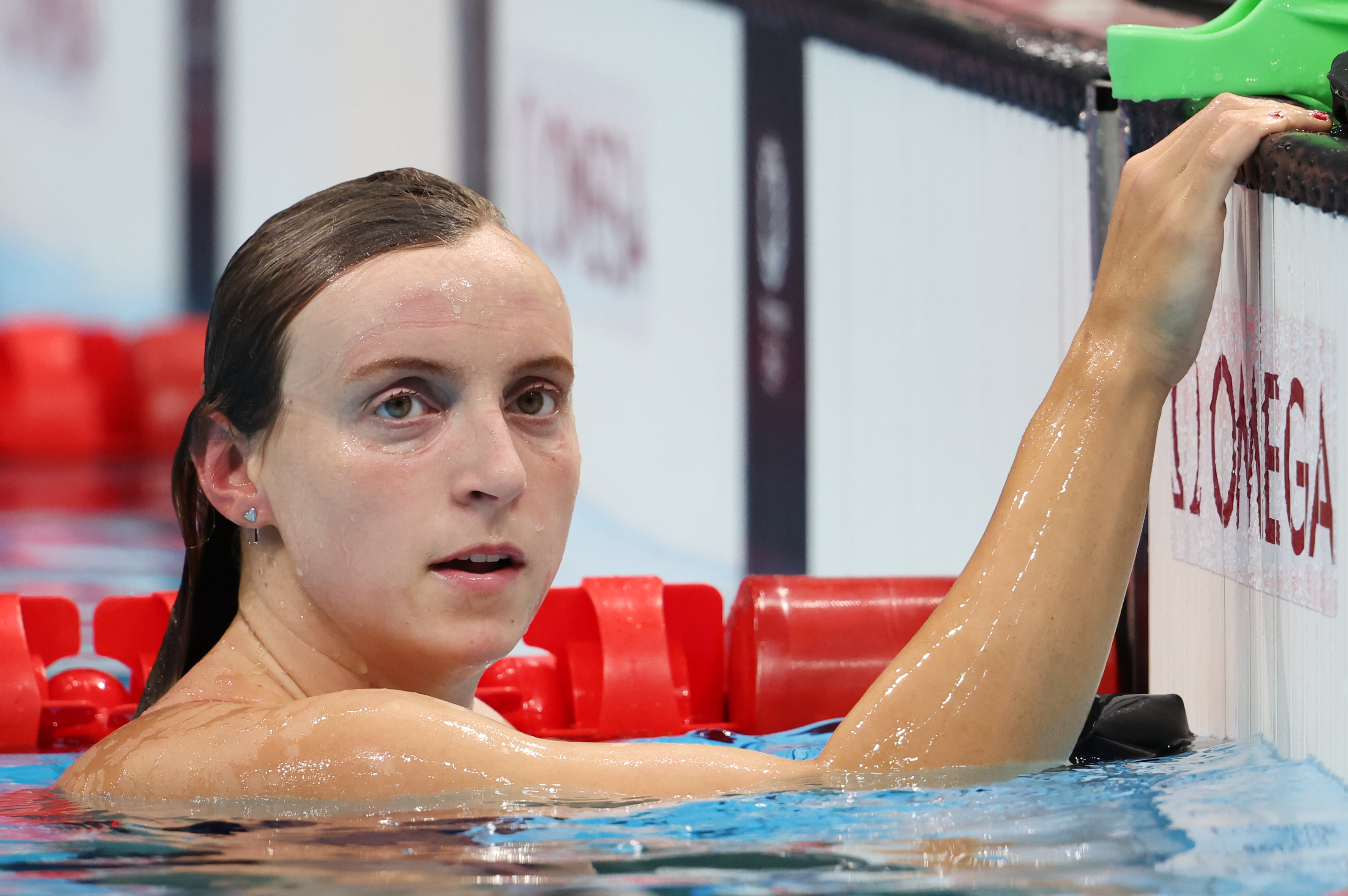Katie Ledecky of Team United States warms up on day three of the Tokyo 2020 Olympic Games at Tokyo Aquatics Centre on July 26, 2021 in Tokyo, Japan.