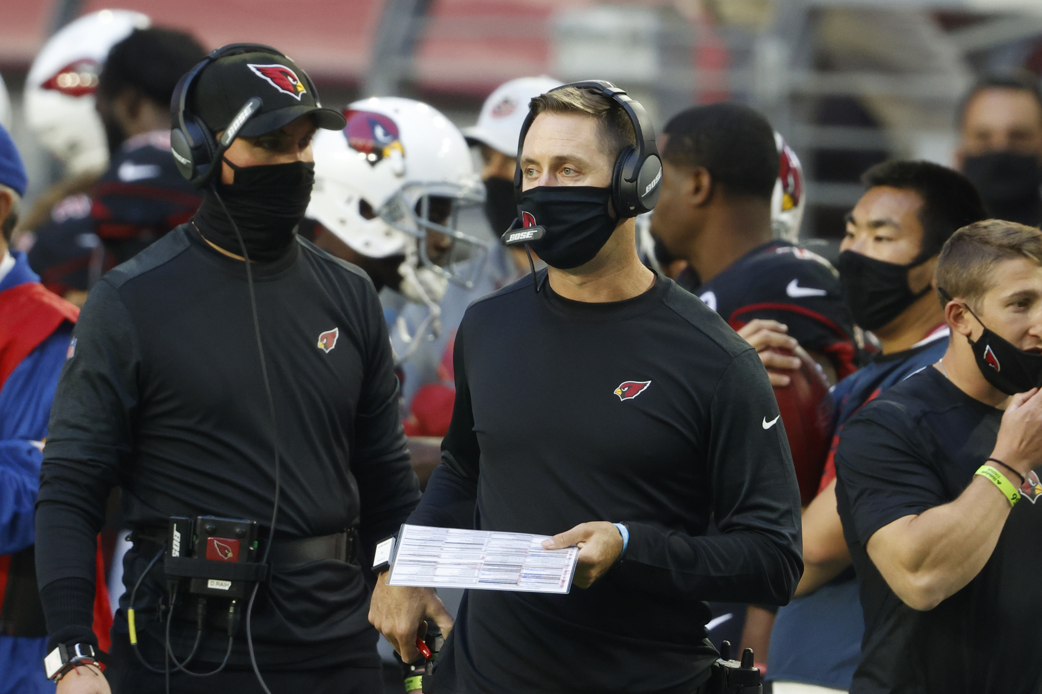 Head coach Kliff Kingsbury of the Arizona Cardinals looks on during the second half against the Los Angeles Rams at State Farm Stadium on December 06, 2020 in Glendale, Arizona.