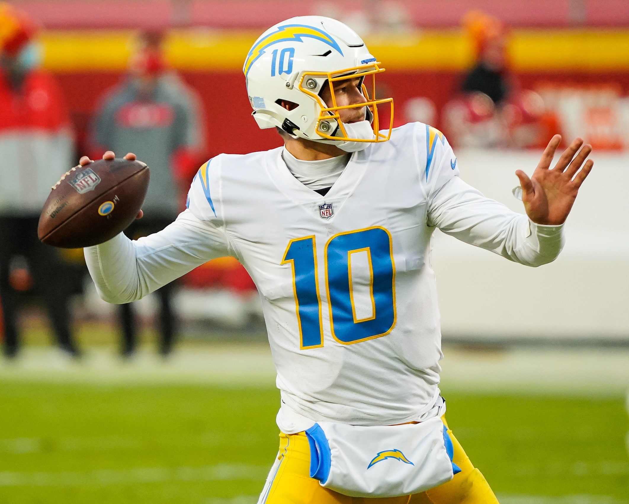 Los Angeles Chargers quarterback Justin Herbert (10) throws a pass against the Kansas City Chiefs during the first half at Arrowhead Stadium.
