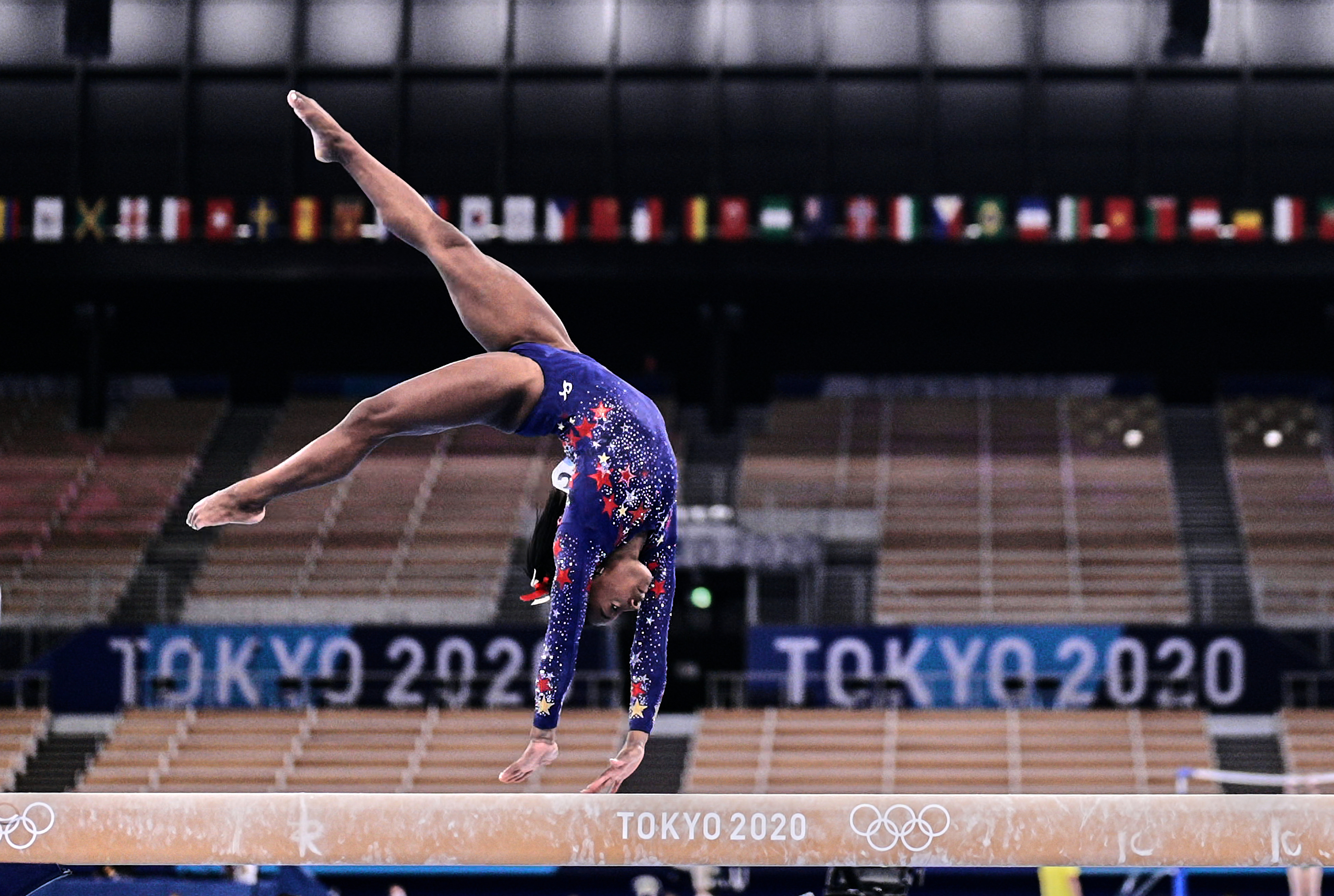 Simone Biles of United States of America during women's qualification for the Artistic Gymnastics final at the Olympics at Ariake Gymnastics Centre, Tokyo, Japan on July 25, 2021.