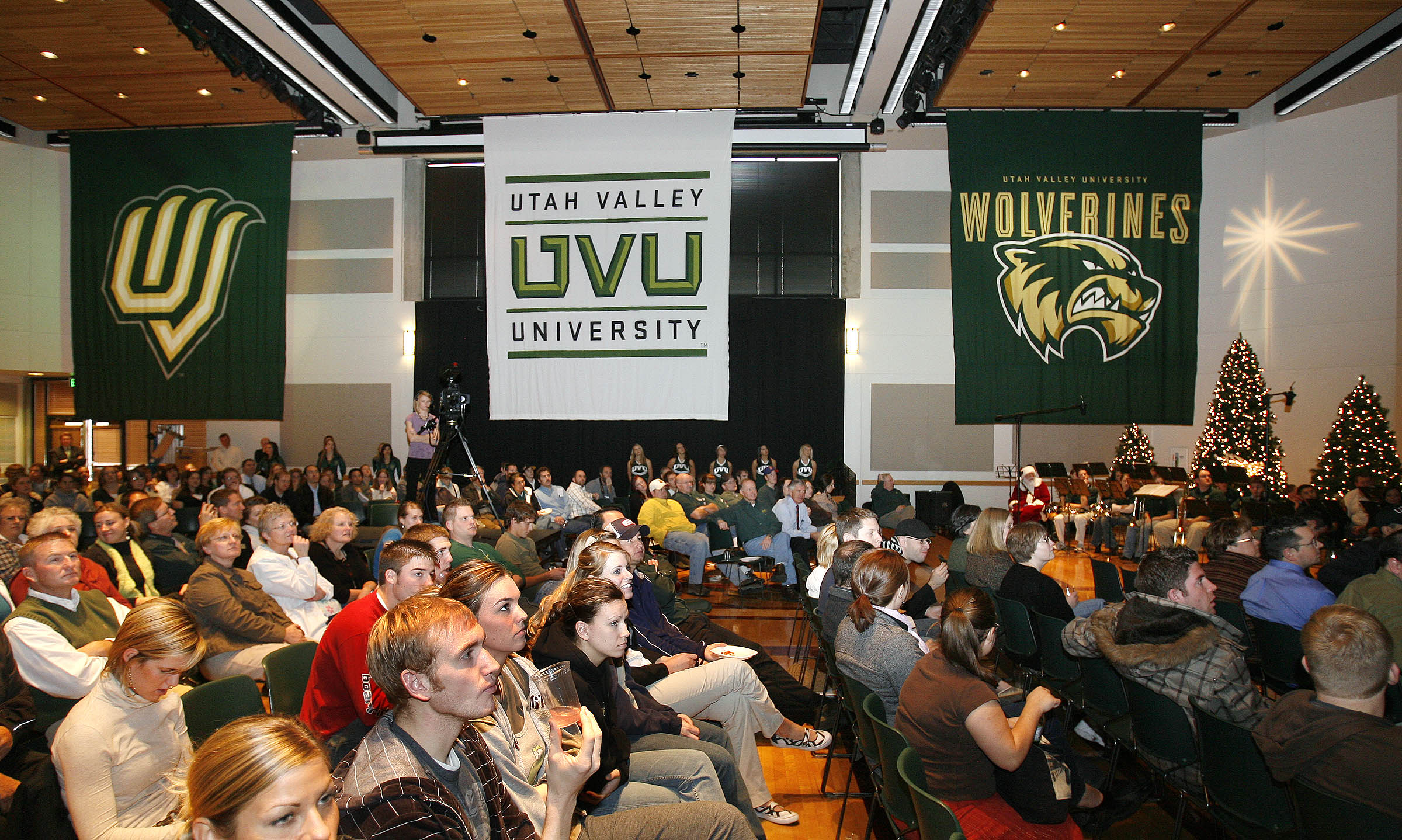 Banners of the new UVU logos hang from the ceiling at Utah Valley University in 2007.