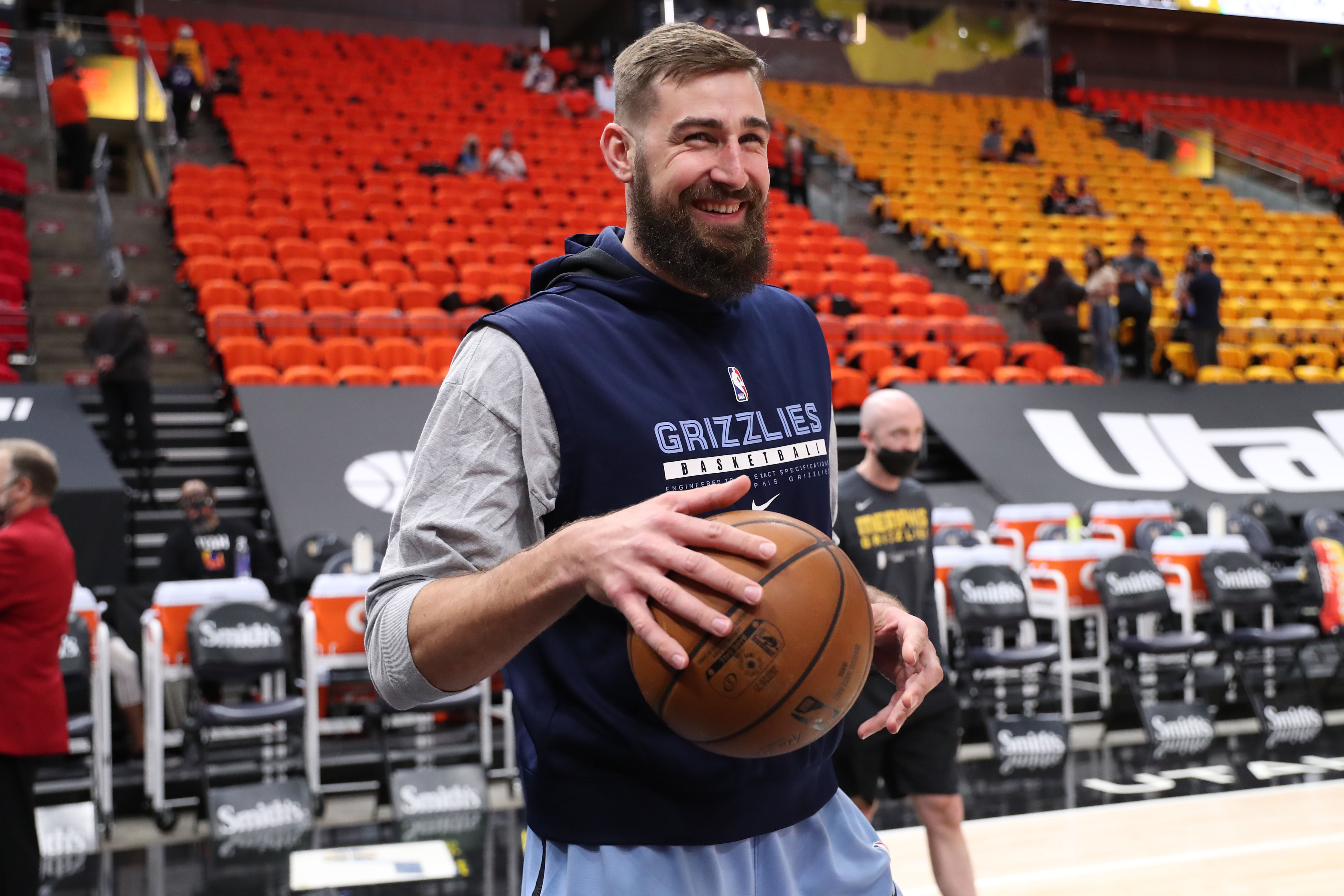 Jonas Valanciunas #17 of the Memphis Grizzlies smiles before the game against the Utah Jazz during Round 1, Game 5 of the 2021 NBA Playoffs on June 2, 2021 at vivint.SmartHome Arena in Salt Lake City, Utah.