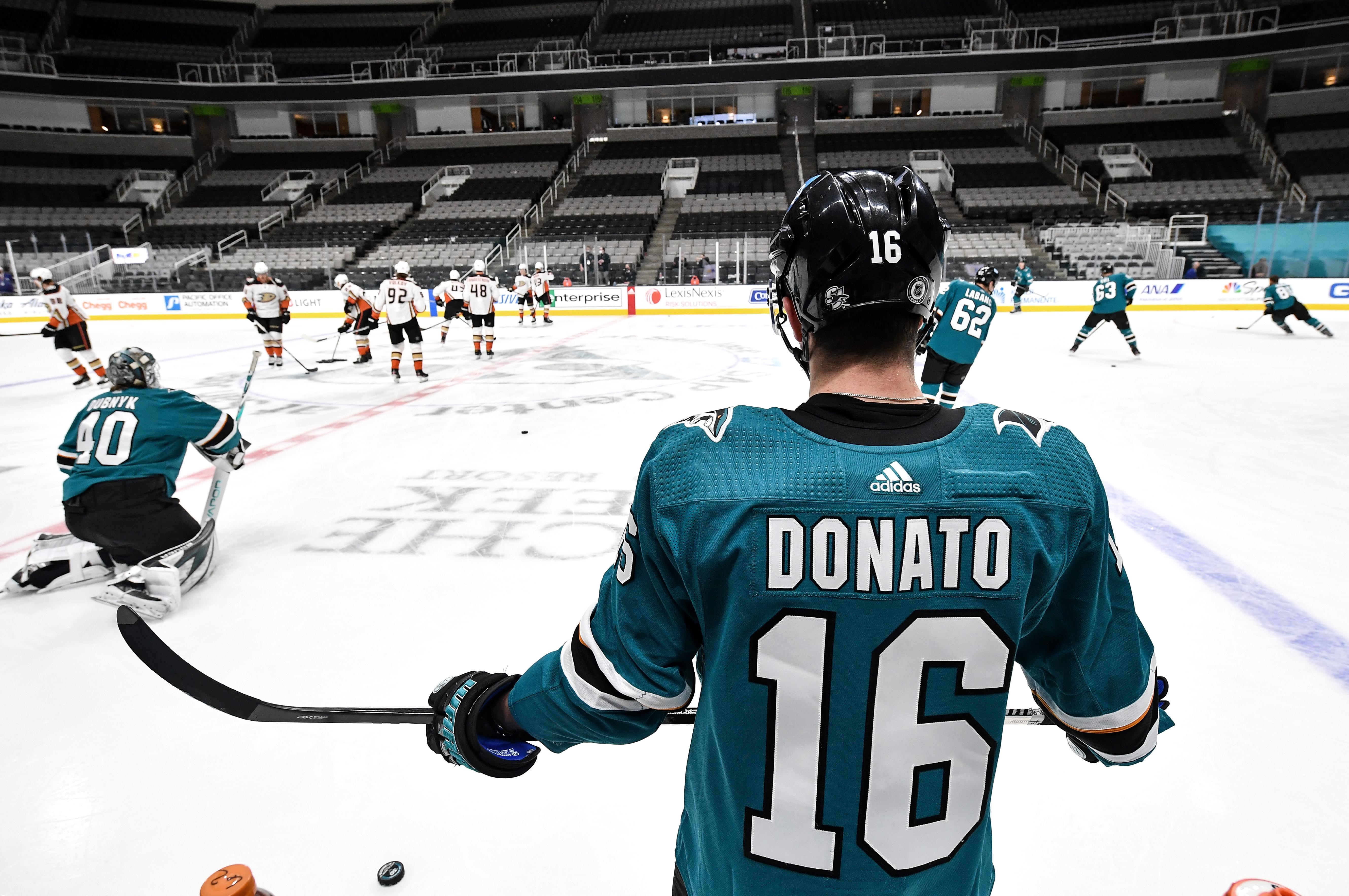 Ryan Donato #16 of the San Jose Sharks warms up before facing the Anaheim Ducks at SAP Center on April 6, 2021 in San Jose, California.