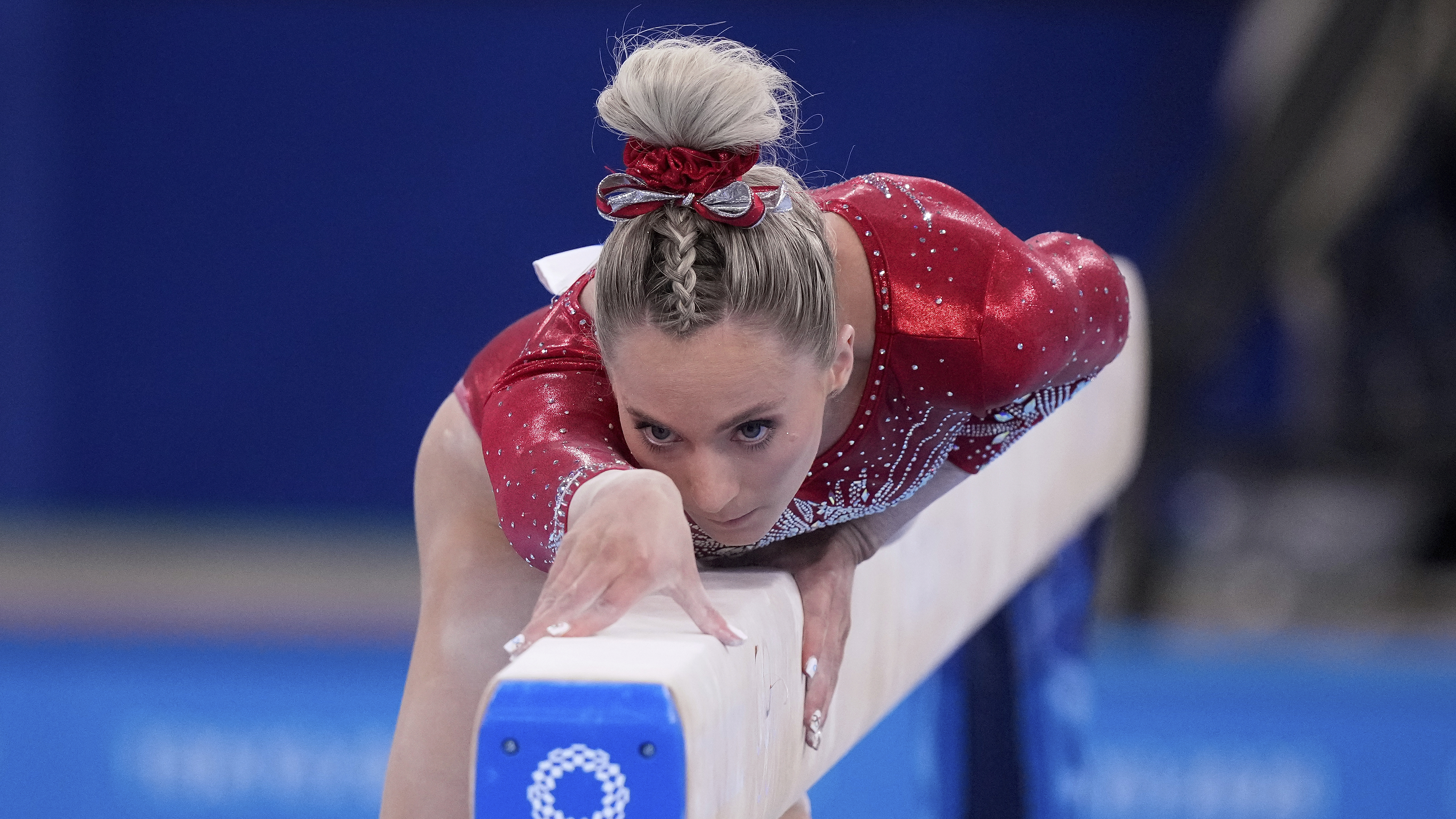 MyKayla Skinner performs on the balance beam at the 2020 Summer Olympics.