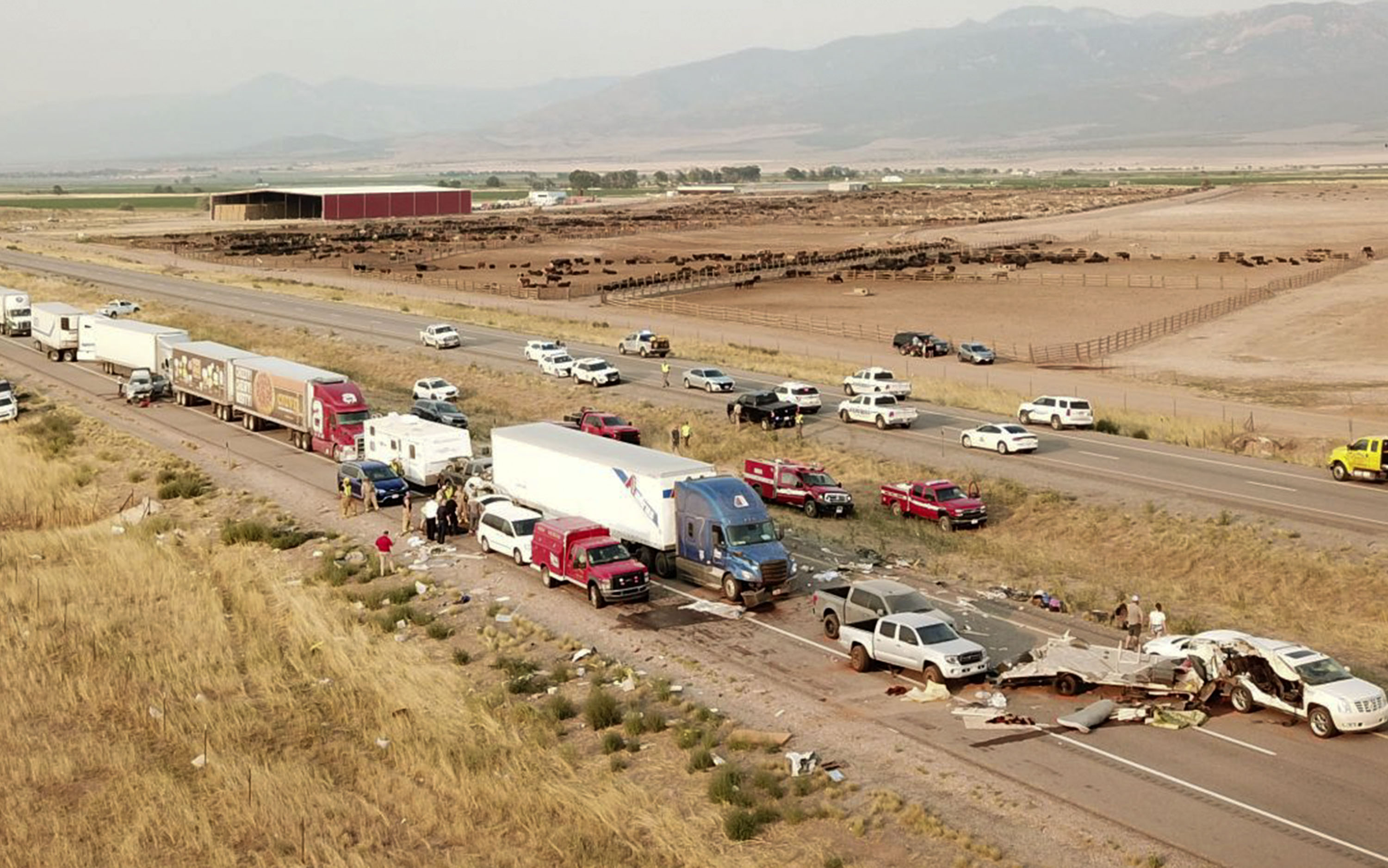This photo provided by the Utah Highway Patrol shows the scene on Interstate 15 near Kanosh on Sunday after a dust storm led to multiple crashes involving 22 vehicles that killed eight people.