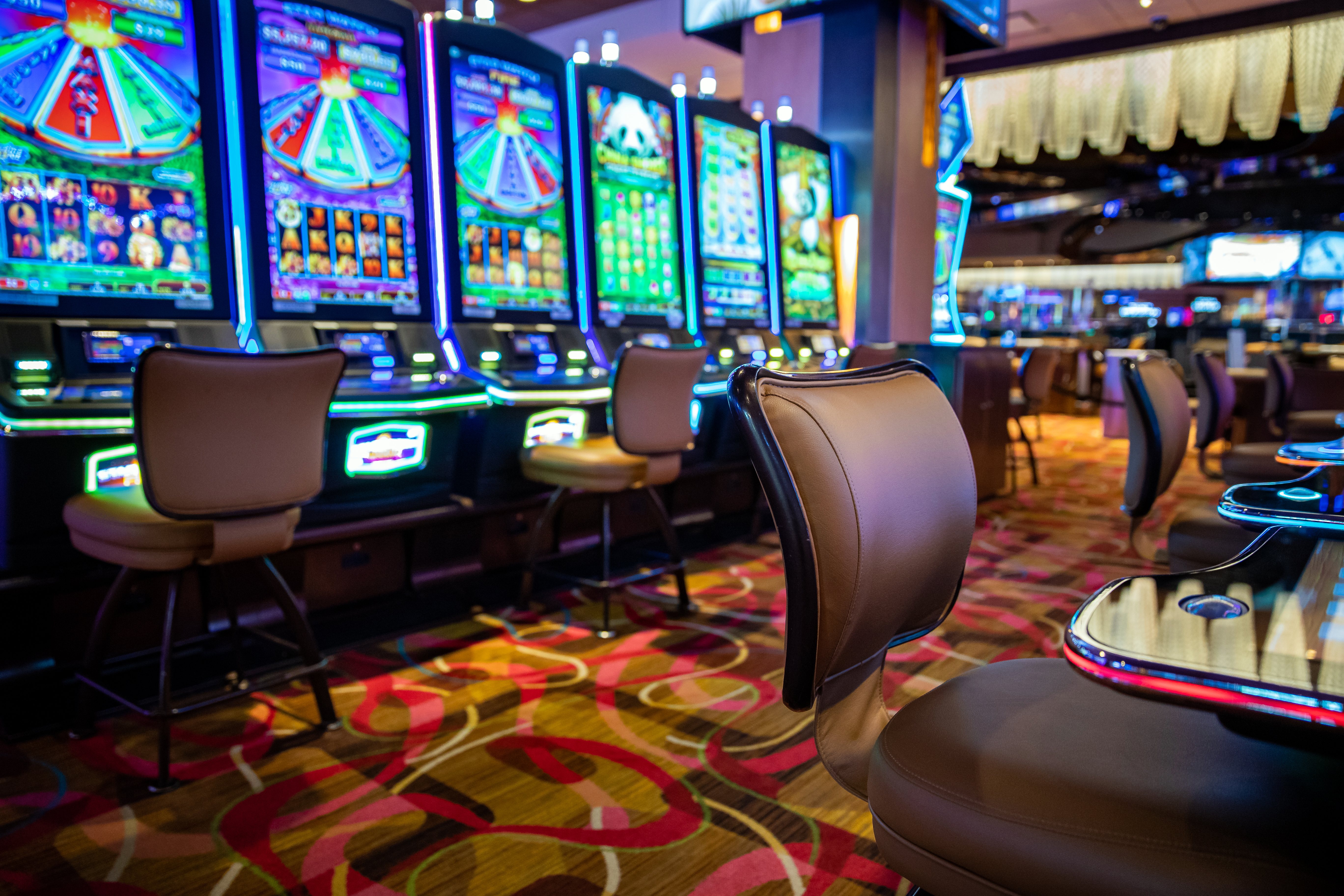 Part of the gaming floor at Rivers Casino in Des Plaines, shown last year before it reopened from a pandemic-related shutdown.