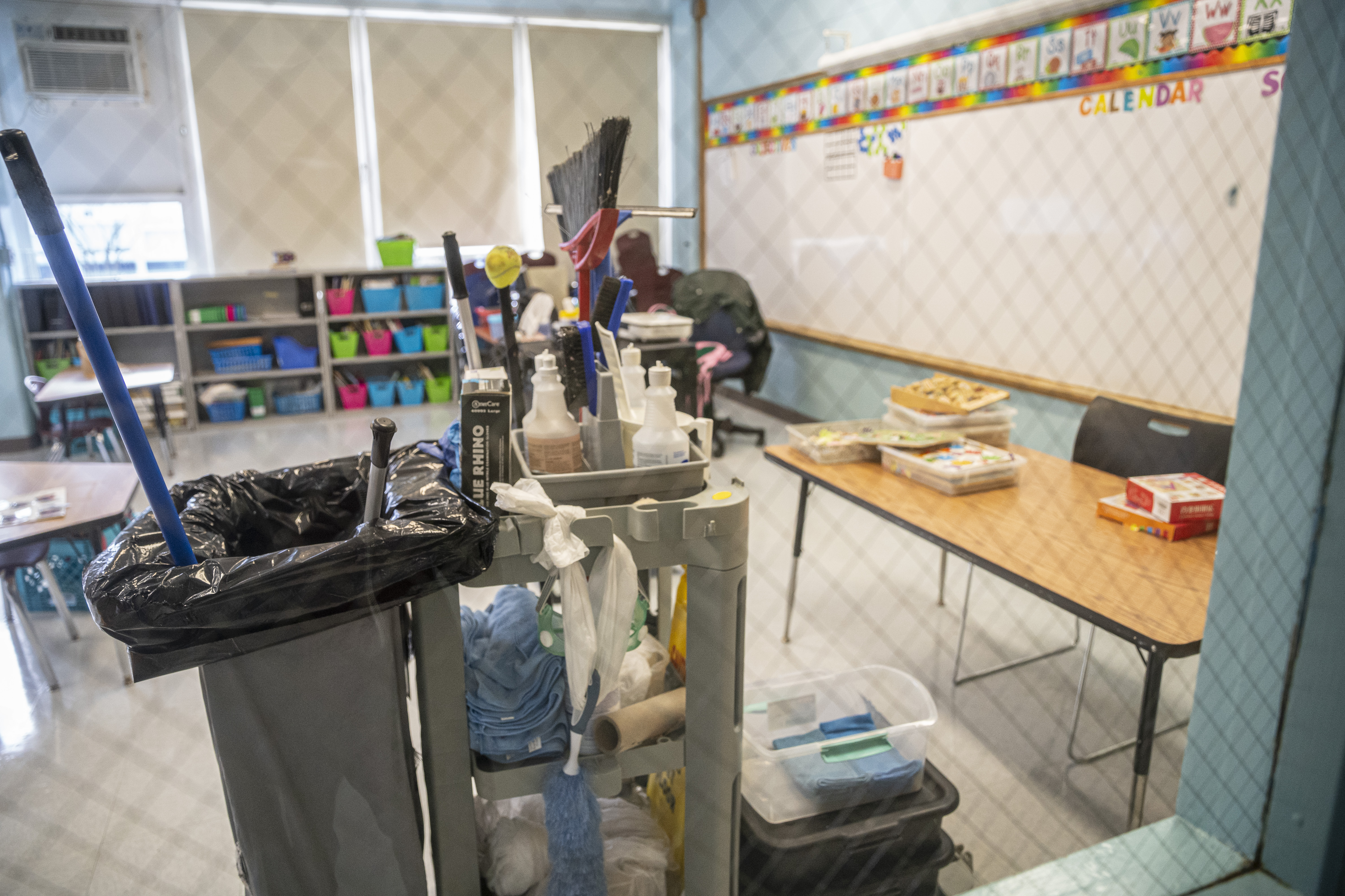 A classroom at South Shore Fine Arts Academy being cleaned after schools reopened in January.