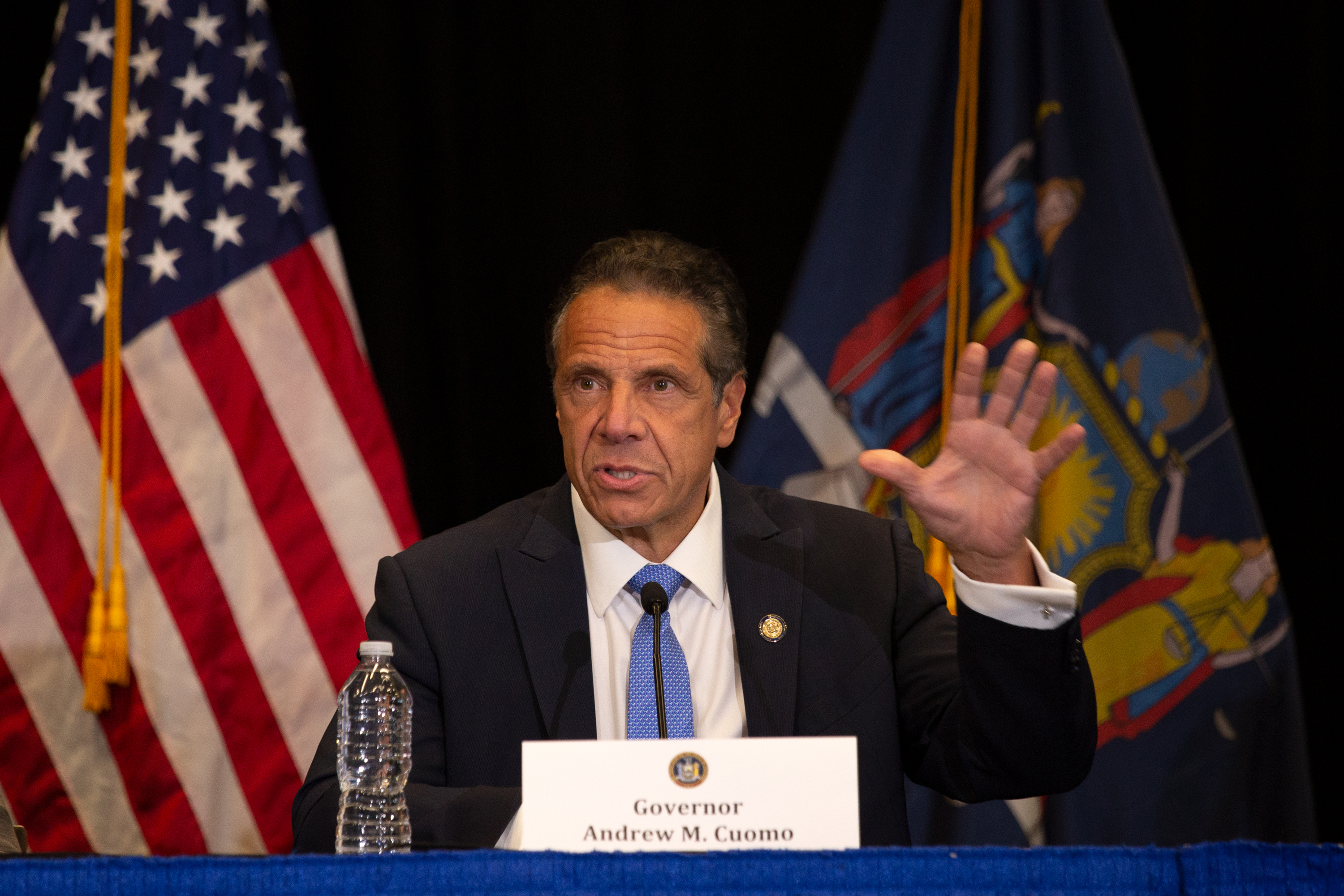 Gov. Andrew Cuomo speaks about the need to increase vaccination rates during a press conference at Yankee Stadium on Monday, July 26, 2021.