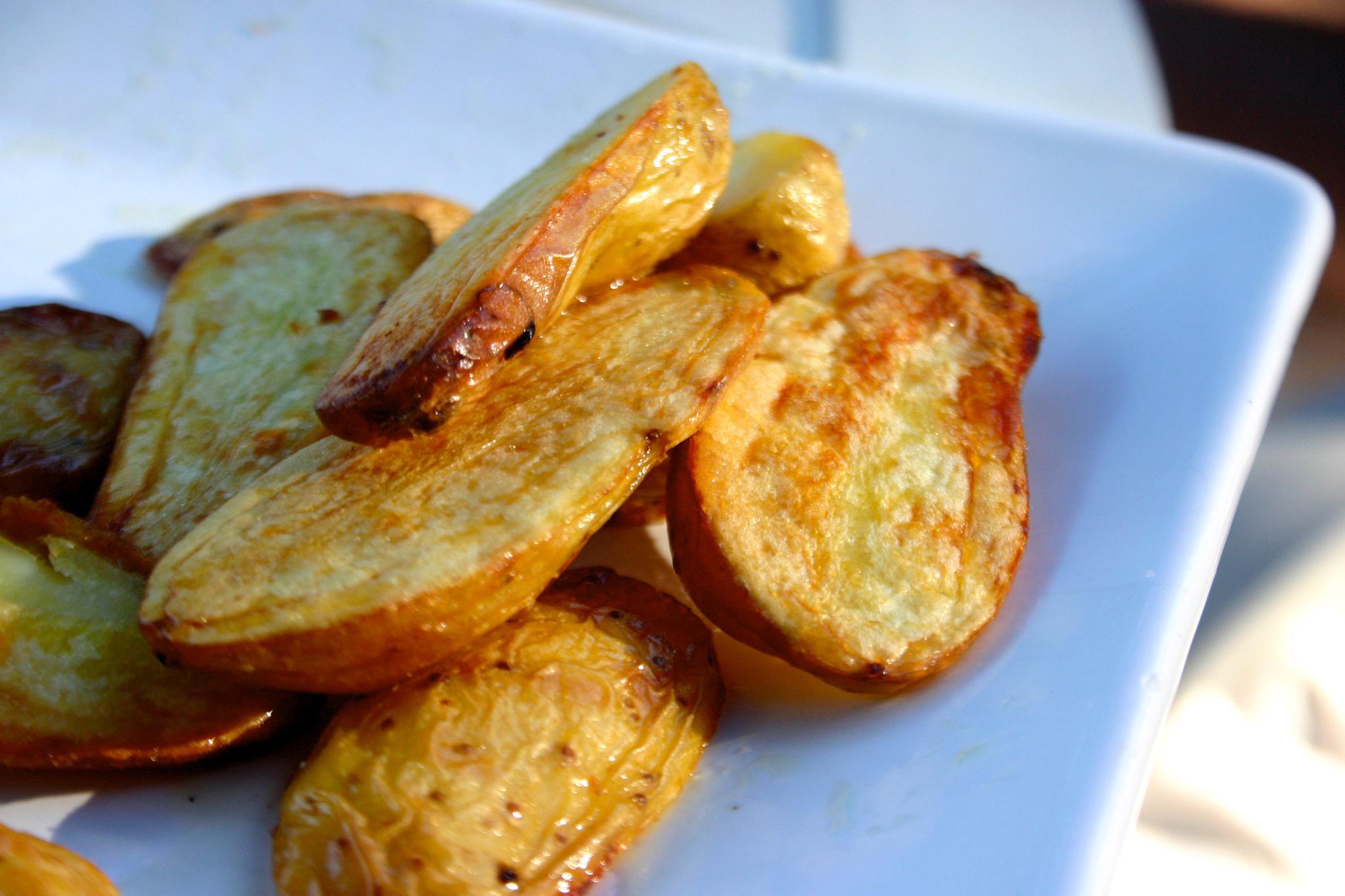Crisp, roasted fingerling potatoes.