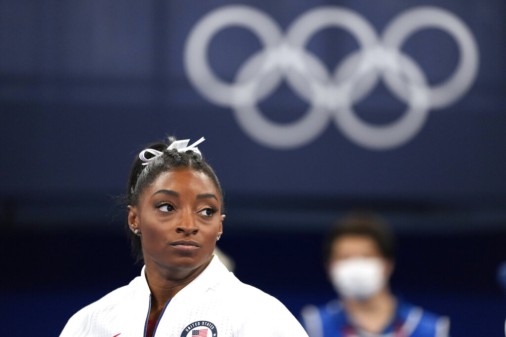 Simone Biles, of the United States, at the 2020 Summer Olympics.