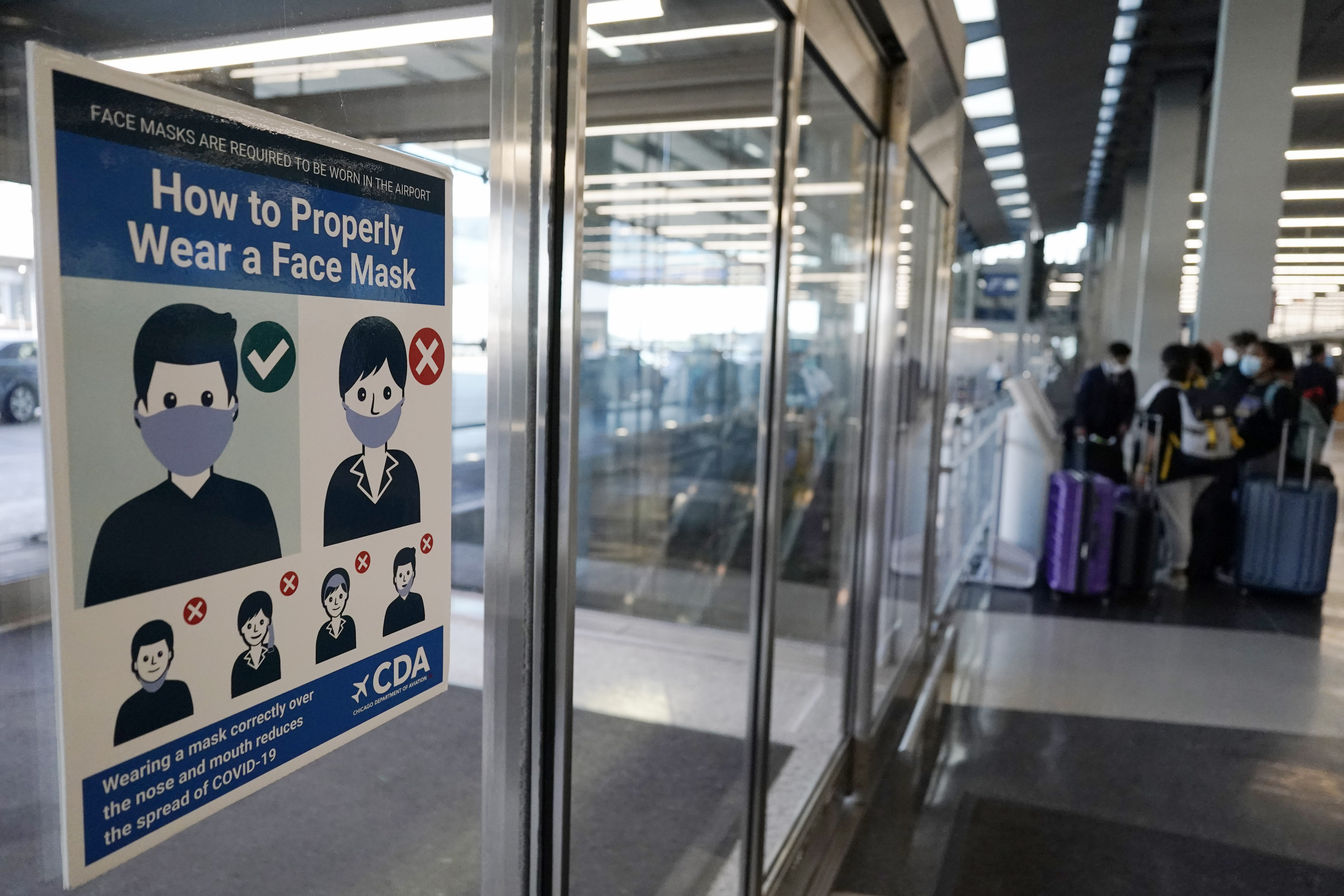 Face coverings are required at O'Hare airport in Chicago.