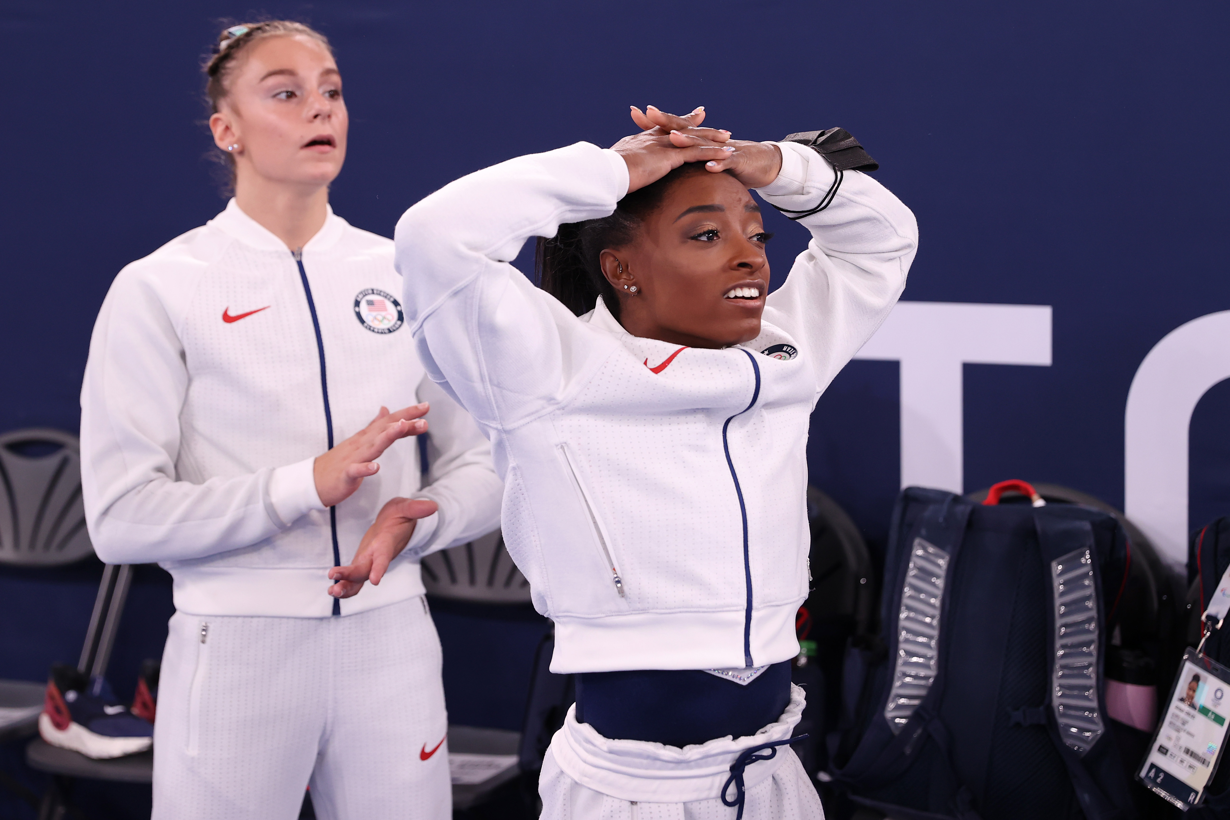 Simone Biles of Team United States reacts during the Women's Team Final on day four of the Tokyo 2020 Olympic Games at Ariake Gymnastics Centre on July 27, 2021 in Tokyo, Japan.