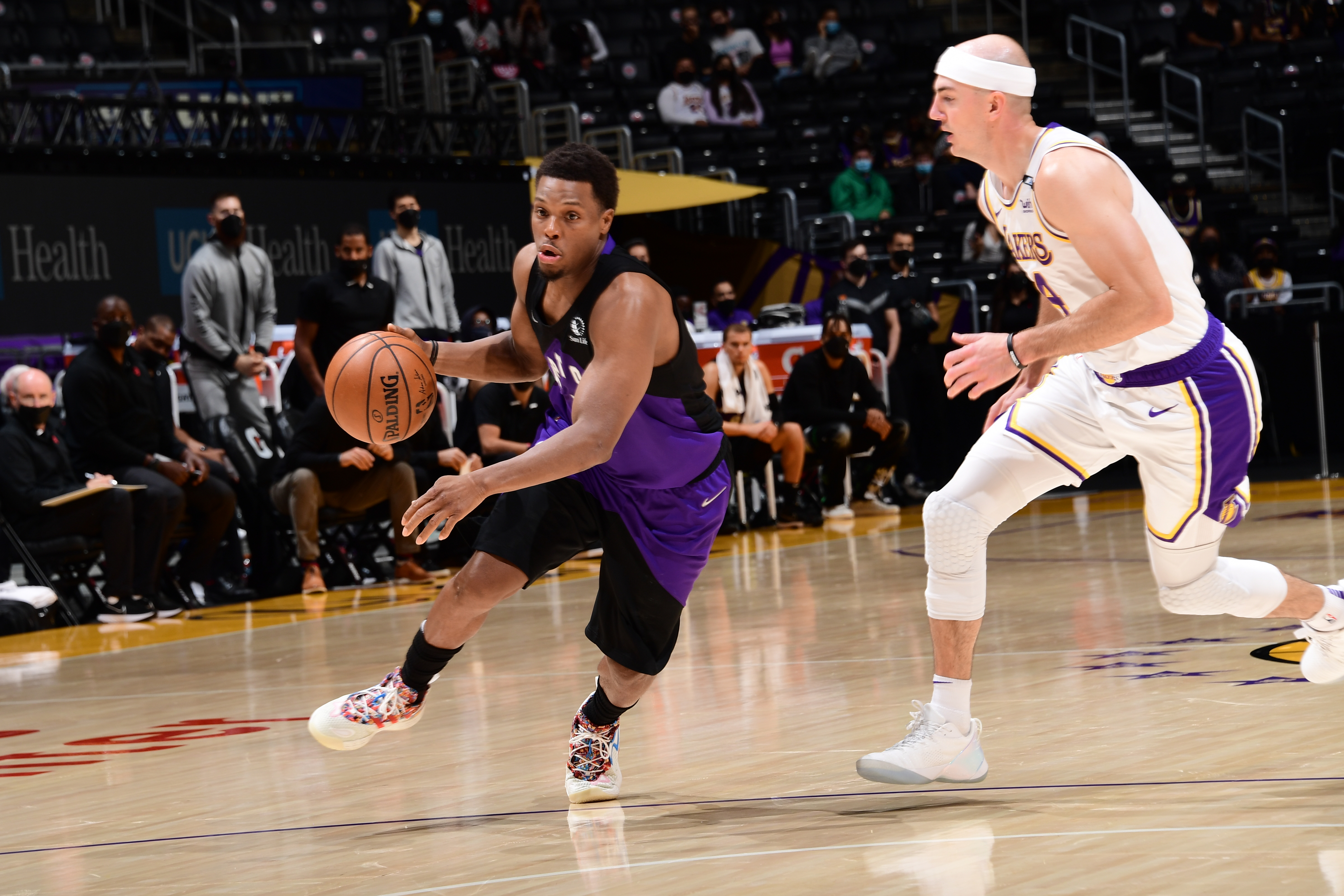 Kyle Lowry of the Toronto Raptors drives to the basket against the Los Angeles Lakers on May 2, 2021 at STAPLES Center in Los Angeles, California.