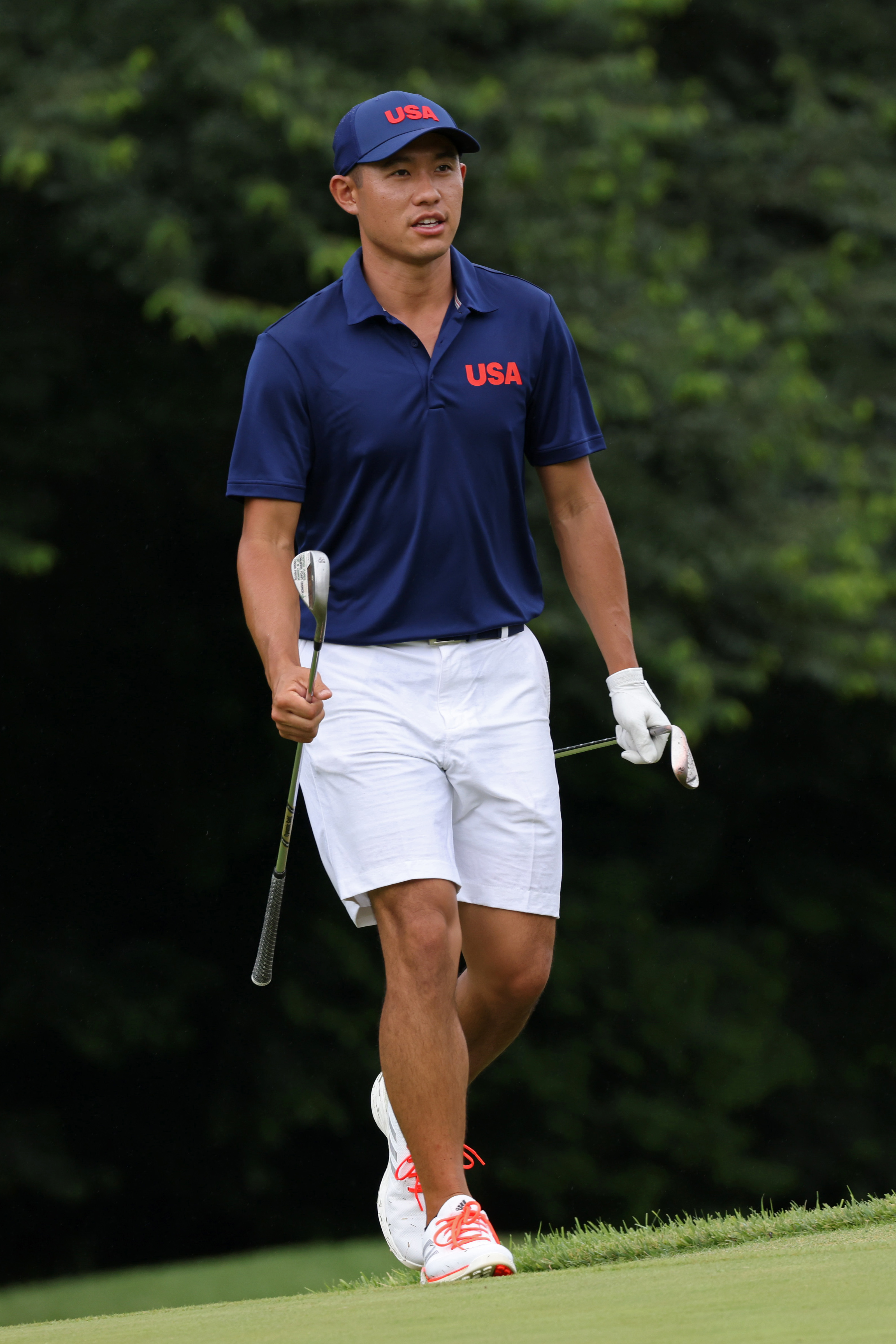 Collin Morikawa of Team USA plays during a practice round at Kasumigaseki Country Club ahead of the Tokyo Olympic Games on July 27, 2021 in Tokyo, Japan.