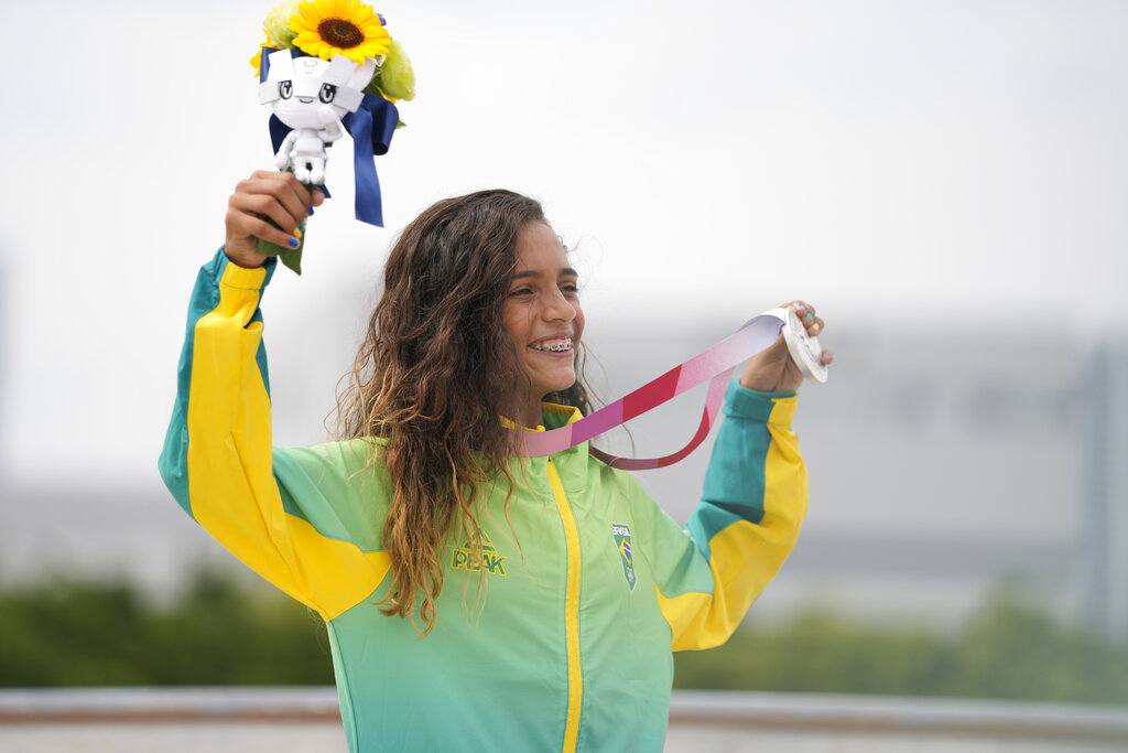 Rayssa Leal of Brazil after winning silver in the women's street skateboarding finals at the 2020 Summer Olympics.