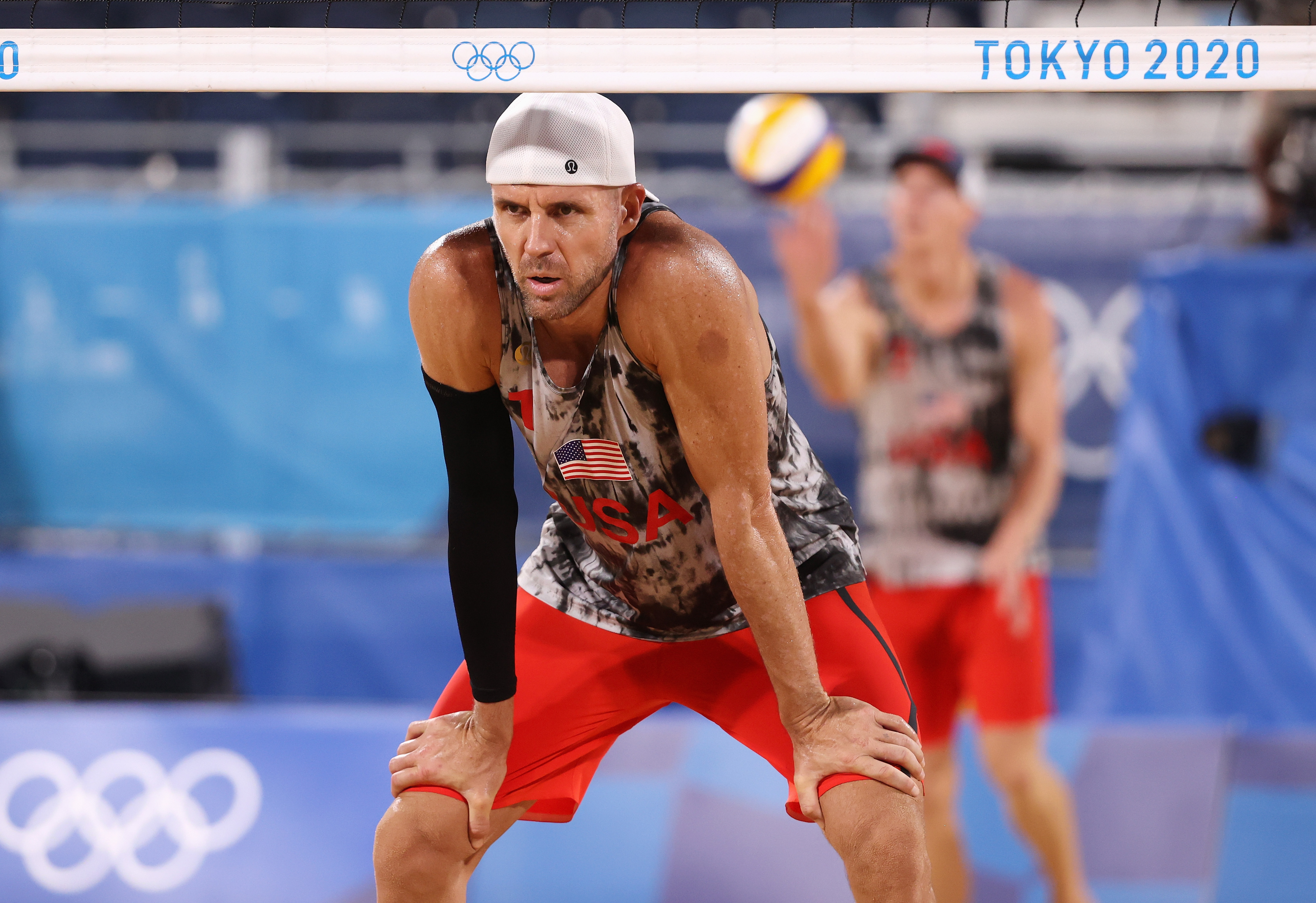 Jacob Gibb and Tri Bourne of Team United States compete against Team Italy during the Men's Preliminary - Pool C on day two of the Tokyo 2020 Olympic Games at Shiokaze Park on July 25, 2021 in Tokyo, Japan.