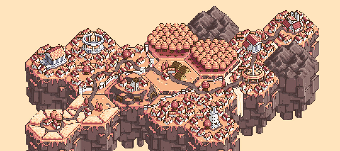 an overview of a pixelated town