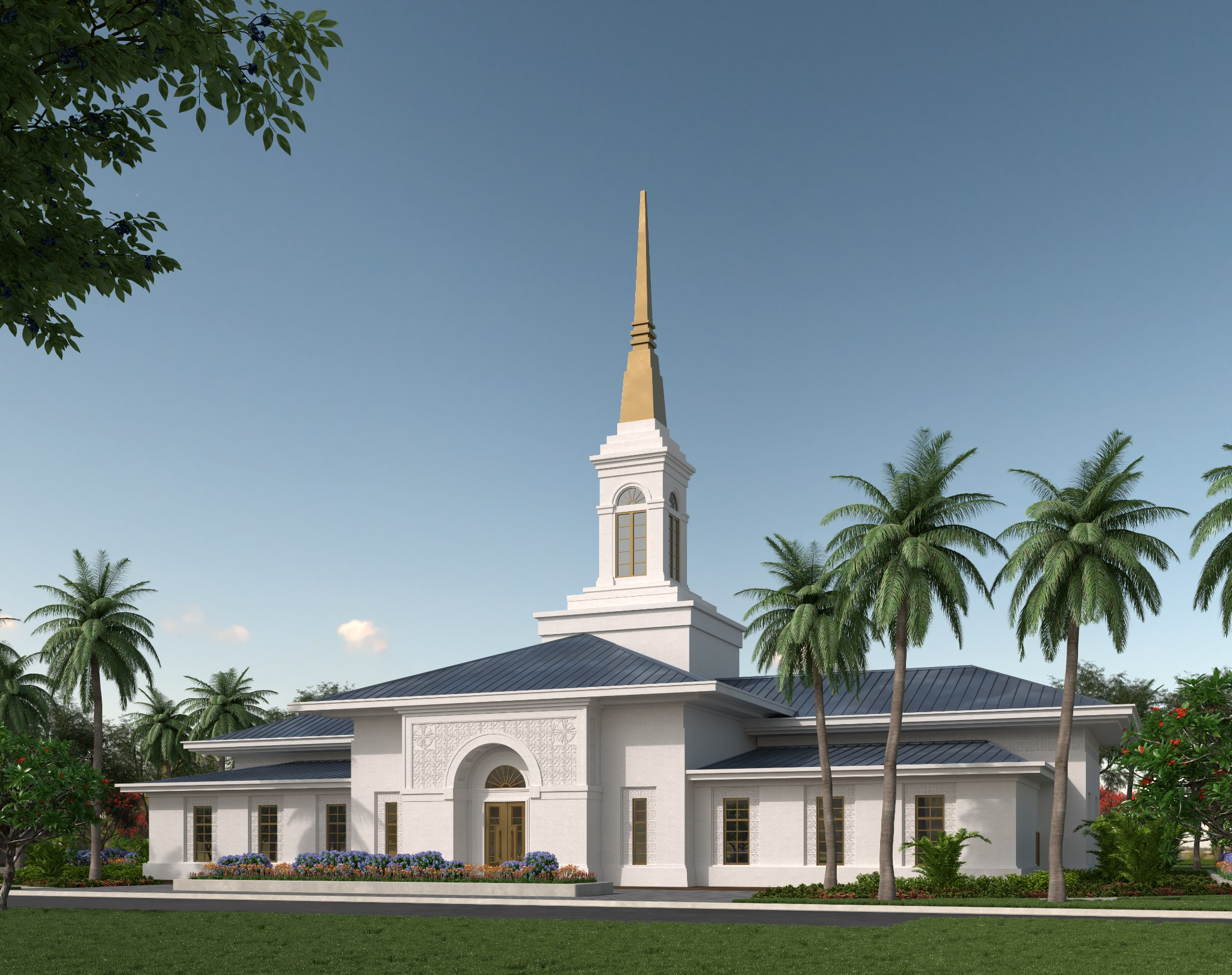 An exterior rendering of the Neiafu Tonga Temple in the South Pacific.