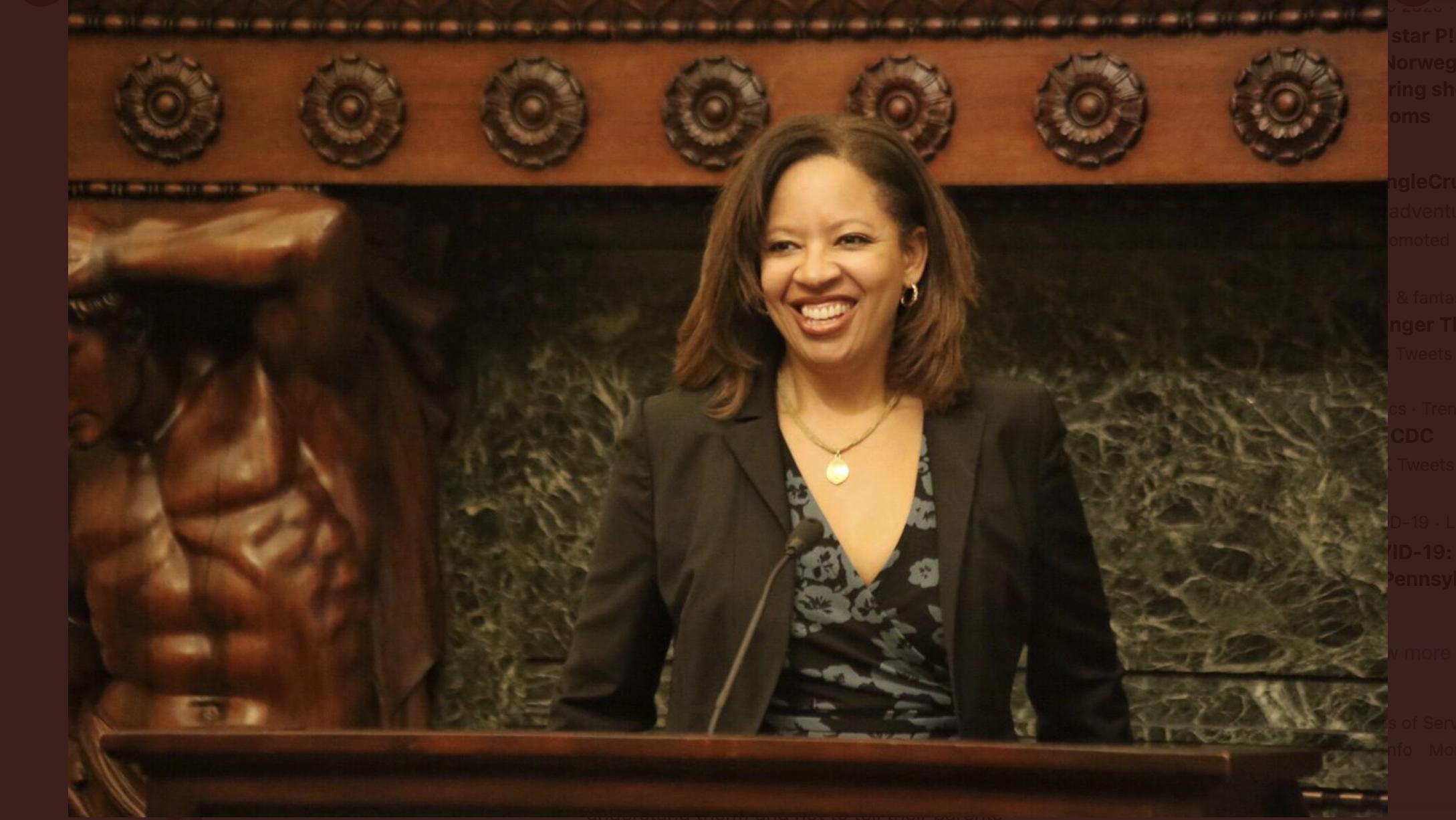 Former school board member Angela McIver at City Hall.
