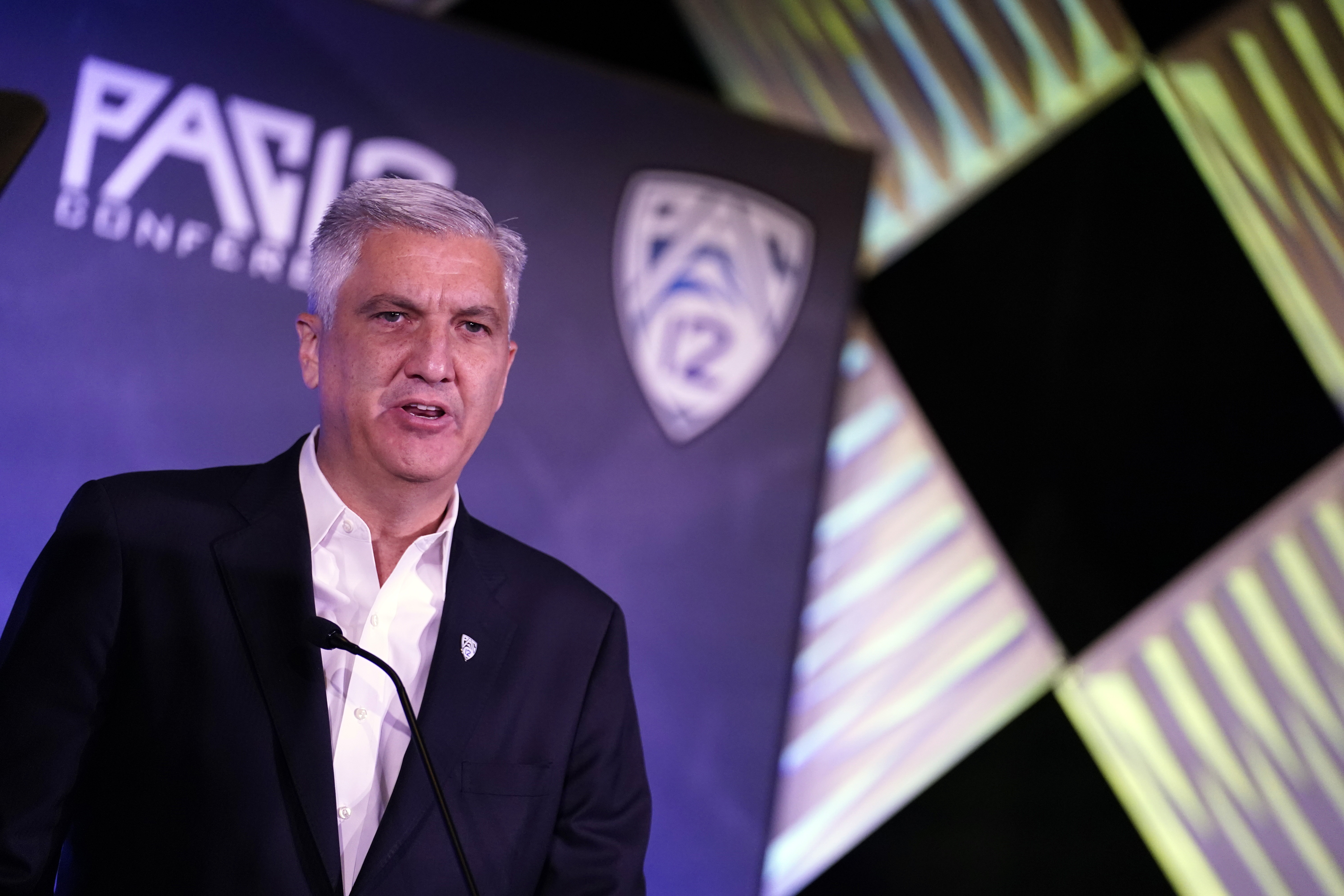 Pac-12 Commissioner George Kliavkoff speaks at Pac-12 Conference football media day, July 27, 2021, in Los Angeles.
