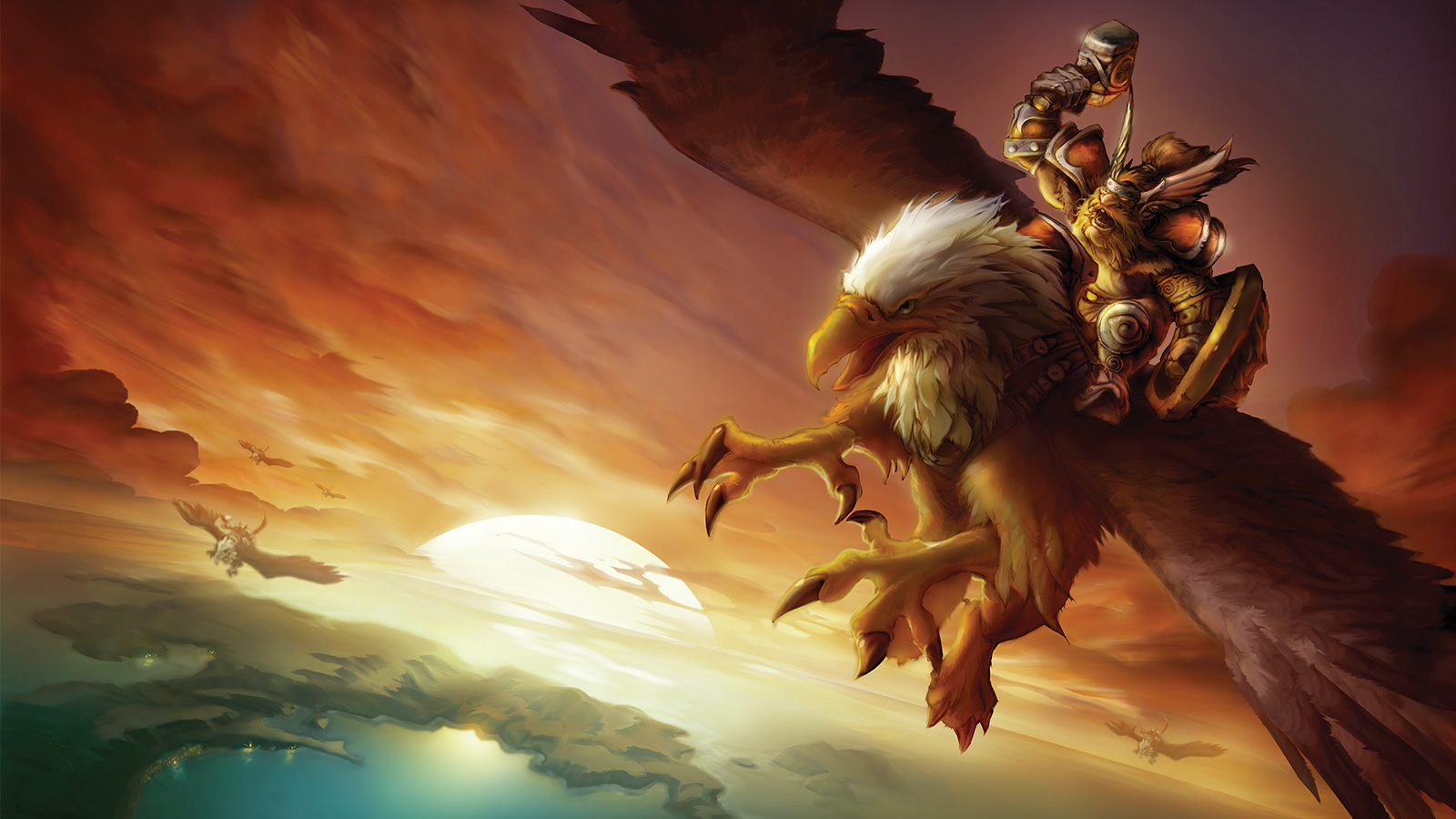 artwork of a dwarf riding a gryphon in World of Warcraft Classic