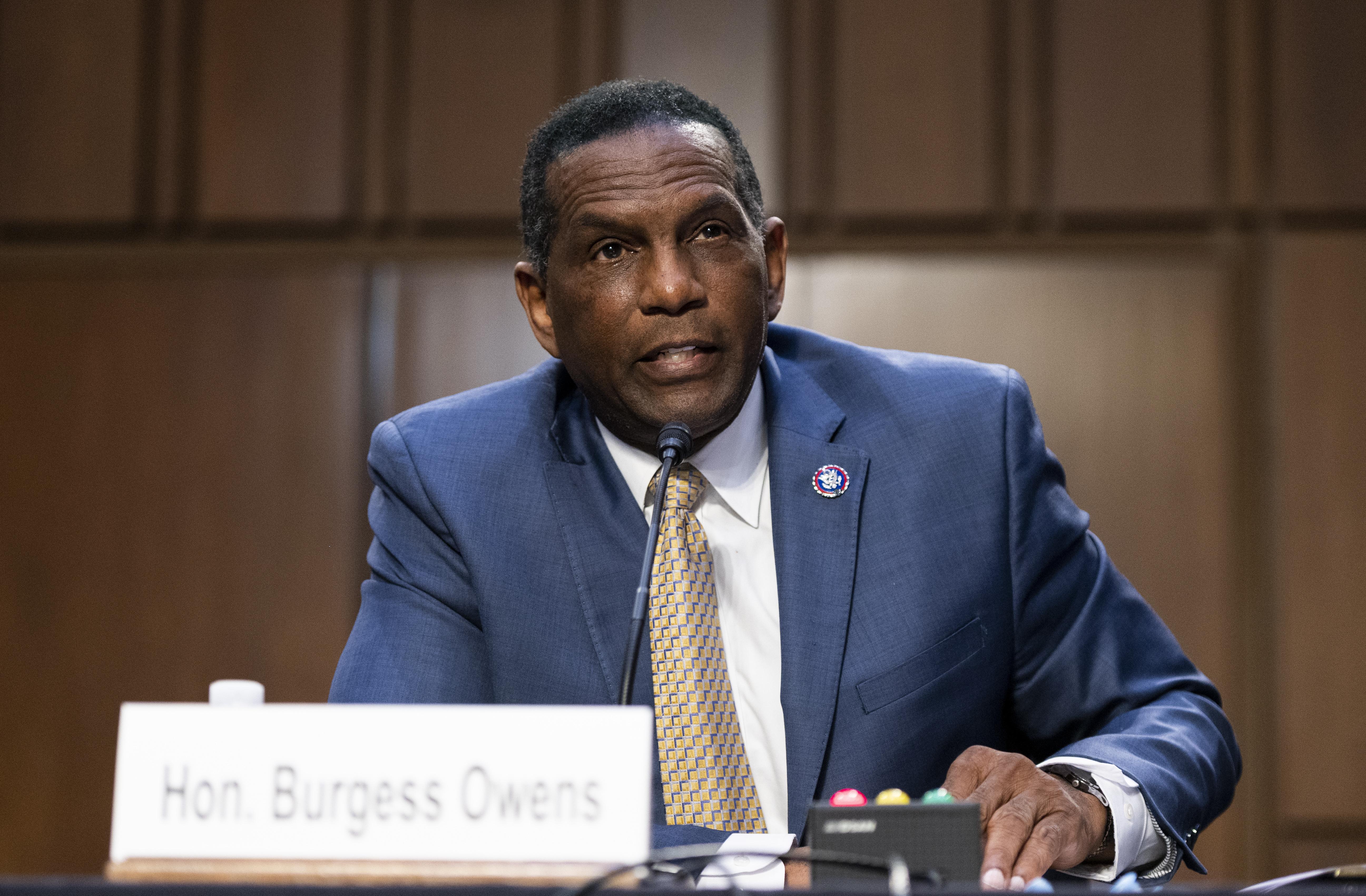 Rep. Burgess Owens, R-Utah, speaks during a Senate Judiciary Committee hearing on Capitol Hill.