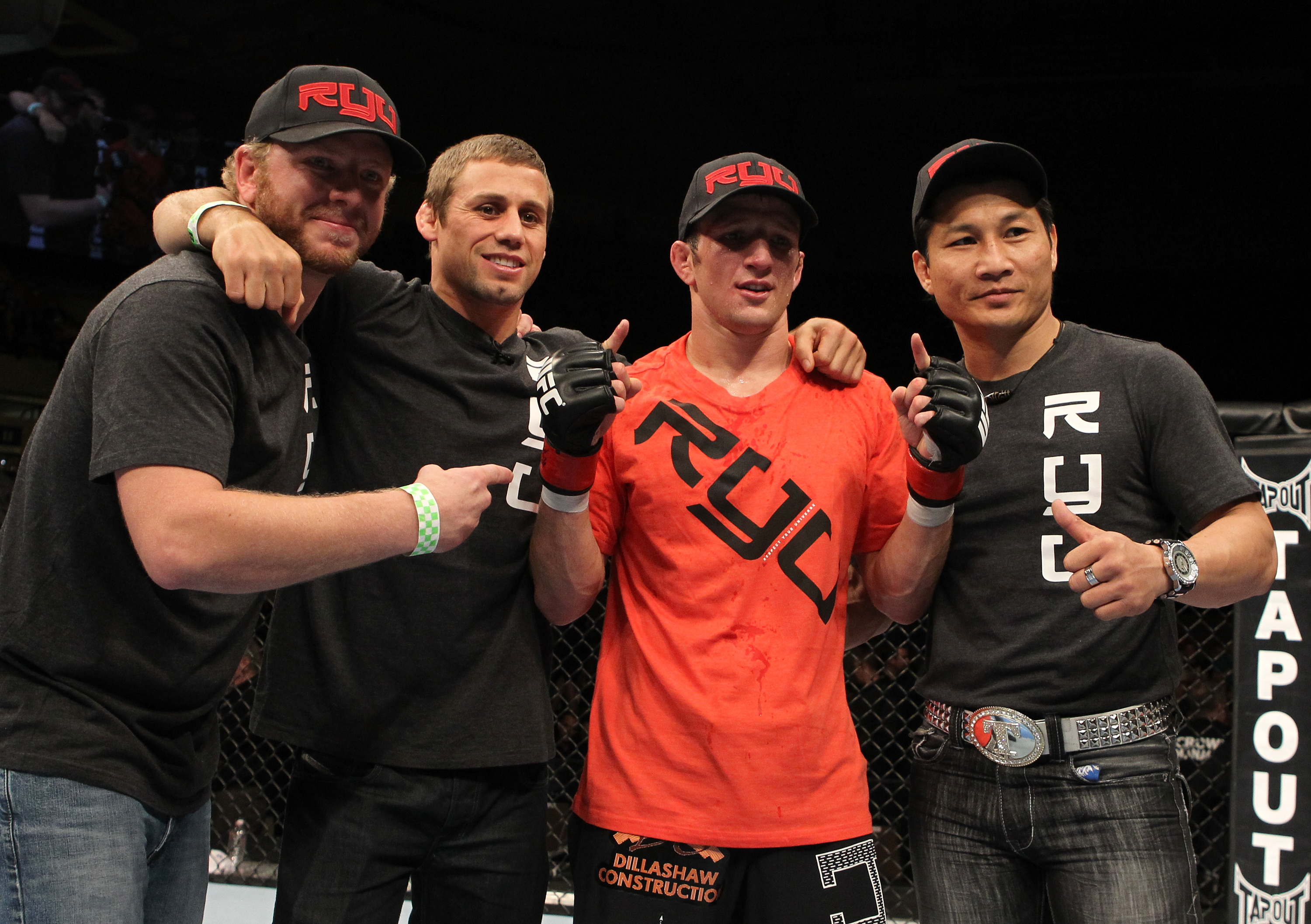 Former Team Alpha Male comrades T.J. Dillashaw and Urijah Faber during happier times.