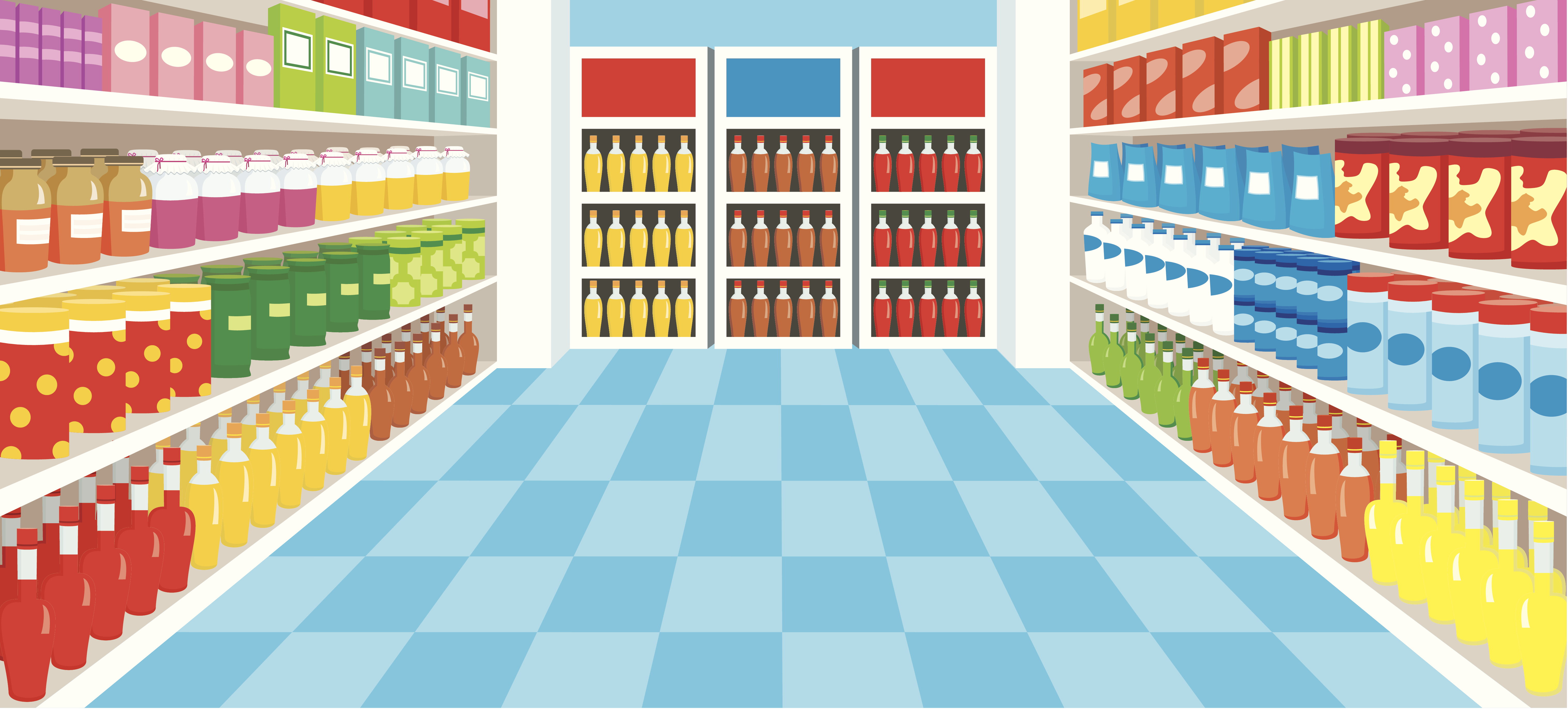 Illustration of a beverage aisle in a store.
