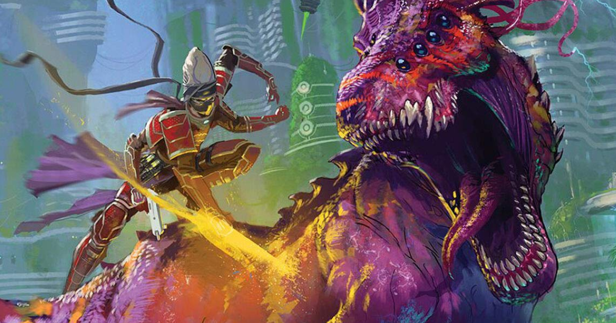 A lithe alien in gray and red armor lands a blow on a purple tyrannosaur... thing.