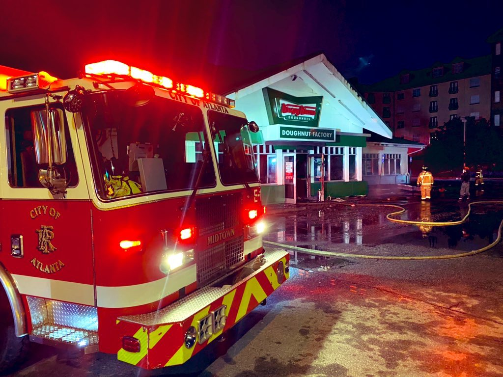 The aftermath of February 10, 2021 fire at Krispy Kreme on Ponce de Leon Avenue in Atlanta