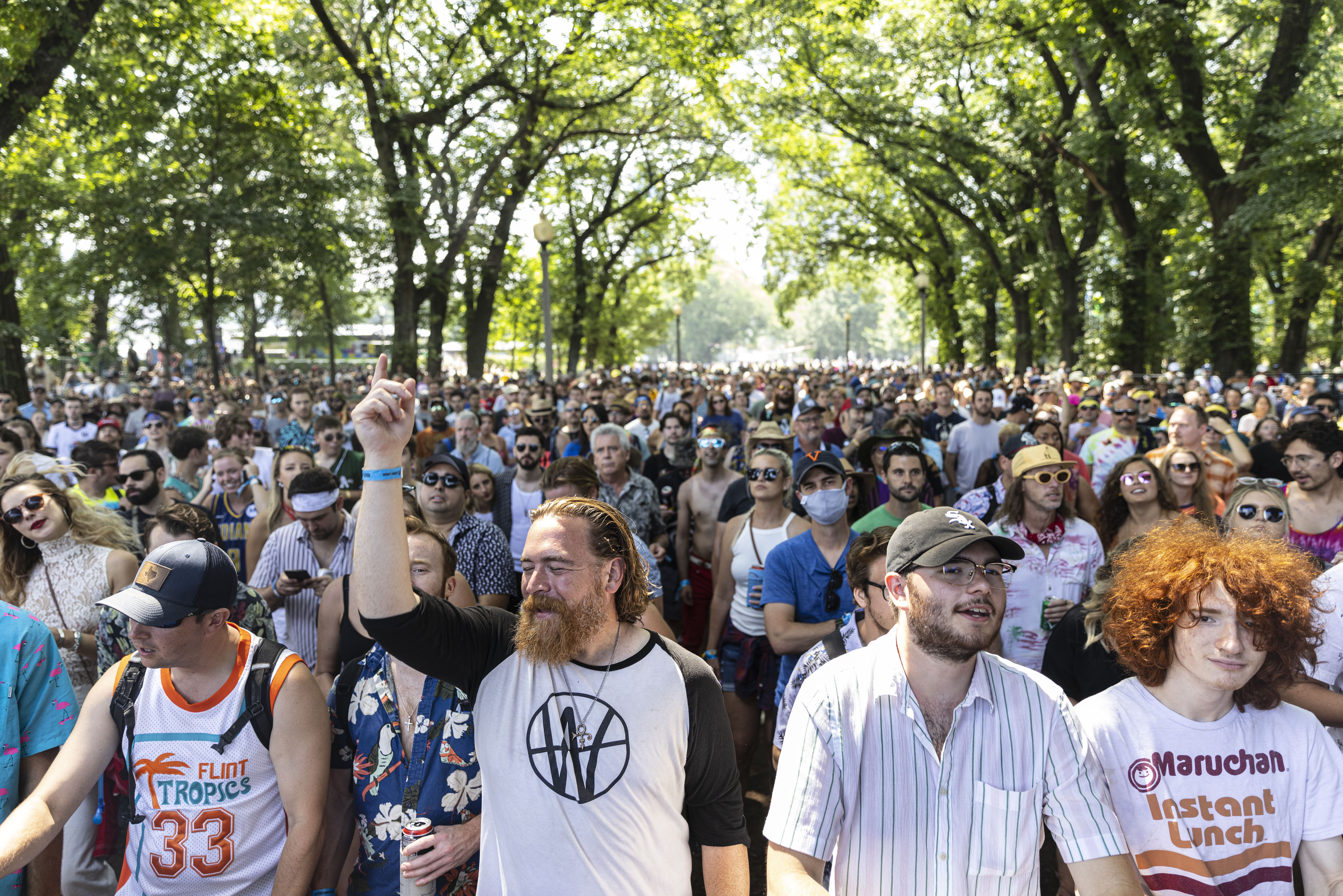 Fans gather to watch Neal Francis perform on day four of Lollapalooza in Grant Park.