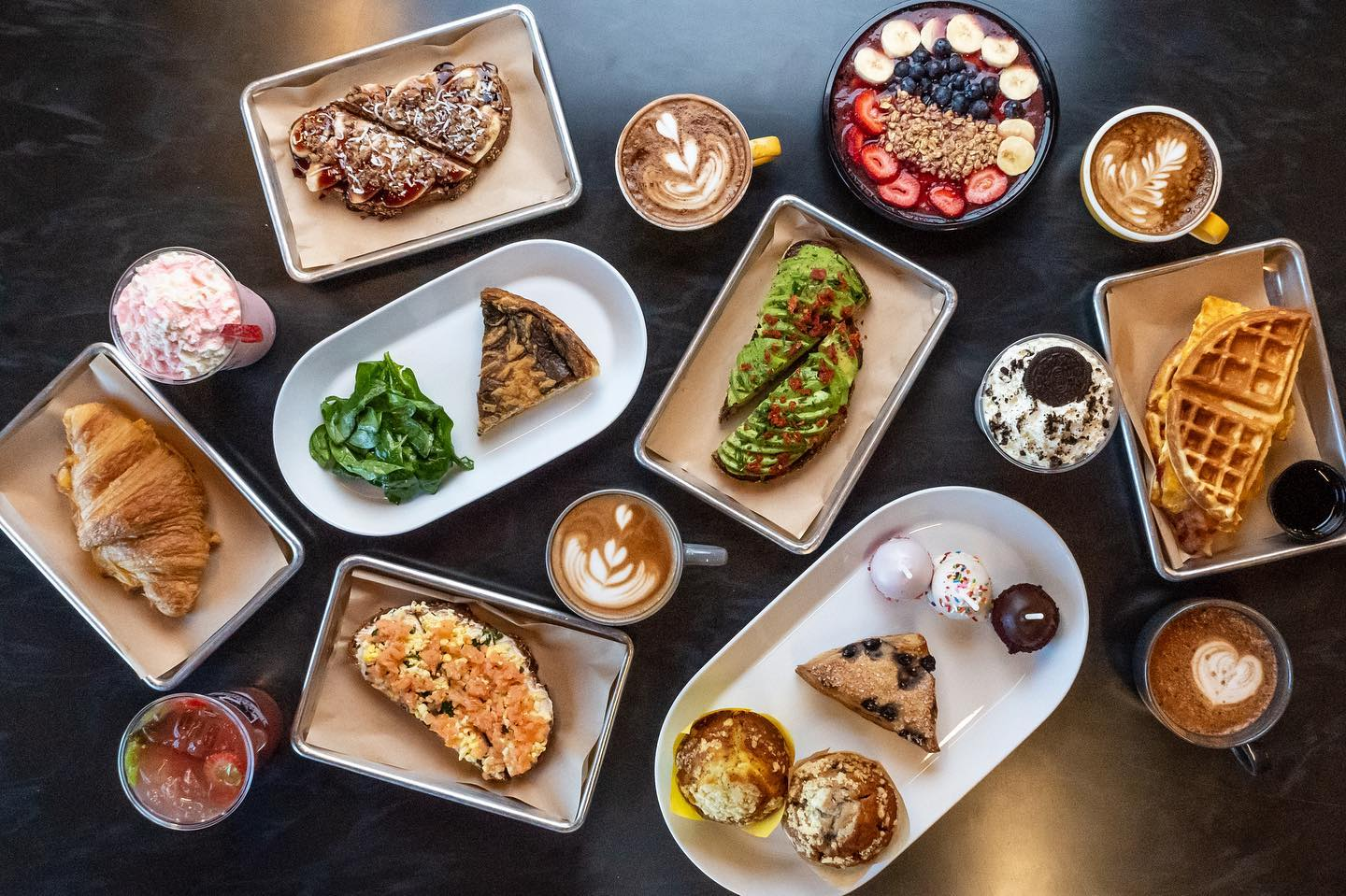 Breakfast dishes shot from overhead