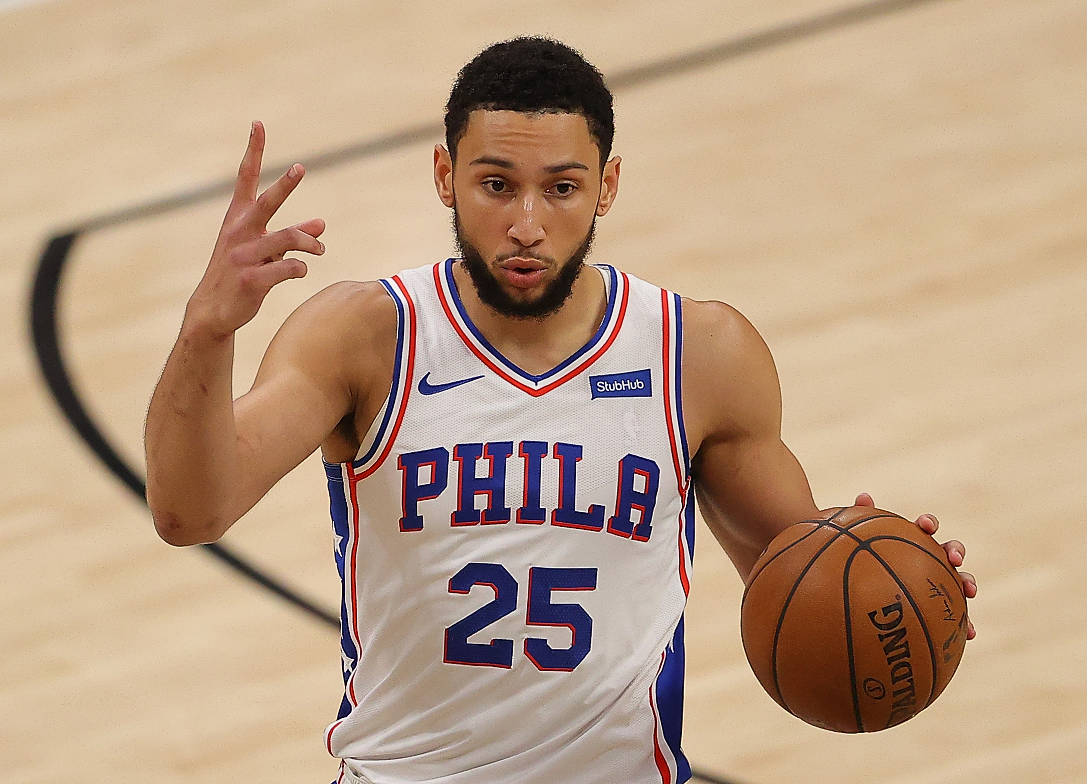 Ben Simmons #25 of the Philadelphia 76ers calls out a play against the Atlanta Hawks during the first half of game 6 of the Eastern Conference Semifinals at State Farm Arena on June 18, 2021 in Atlanta, Georgia.