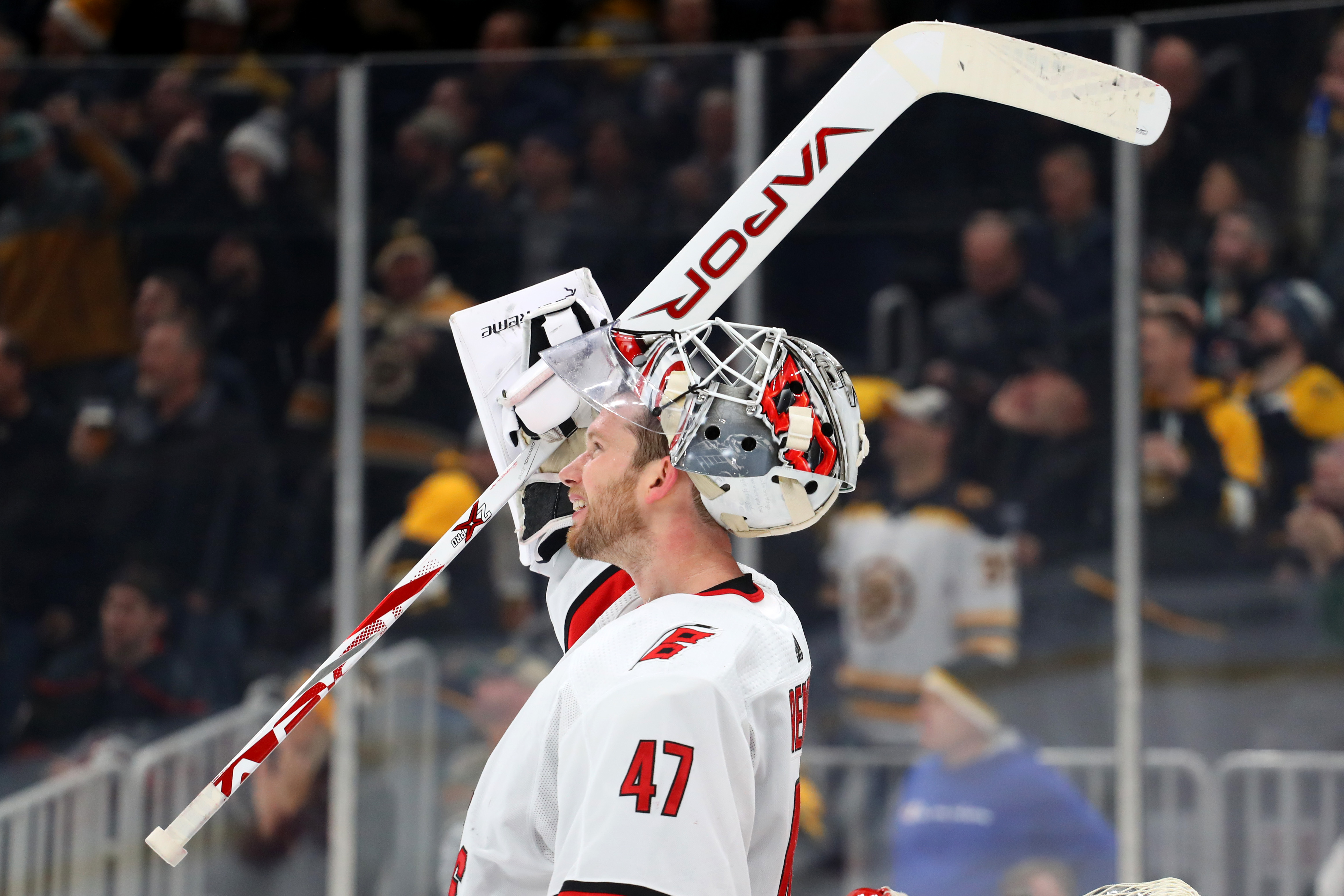 James Reimer #47 of the Carolina Hurricanes reacts after Charlie Coyle #13 of the Boston Bruins scored a goal during the third period at TD Garden on December 03, 2019 in Boston, Massachusetts. The Bruins defeat the Hurricanes 2-0.