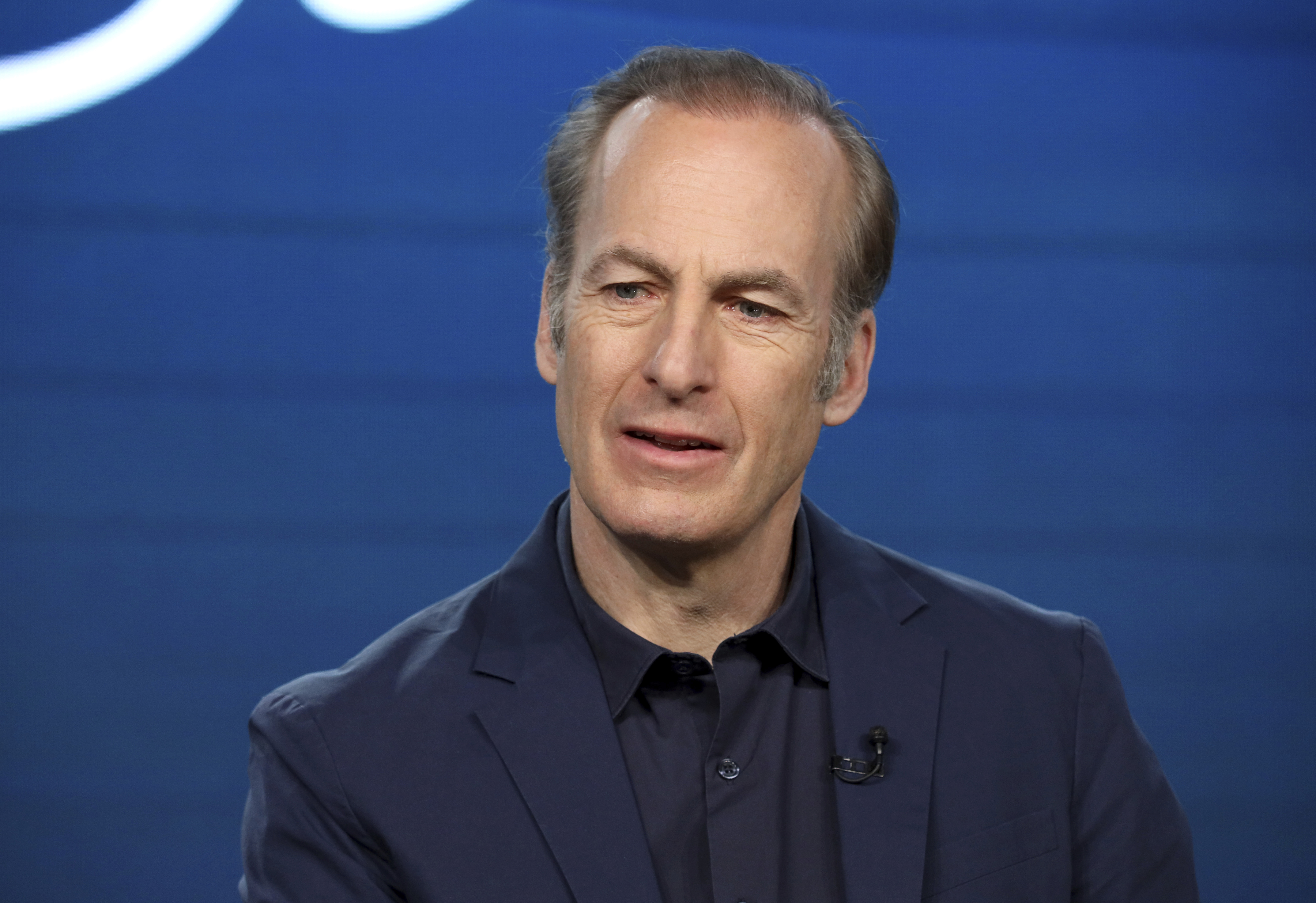 """Bob Odenkirk discusses """"Better Call Saul"""" with reporters in 2020."""