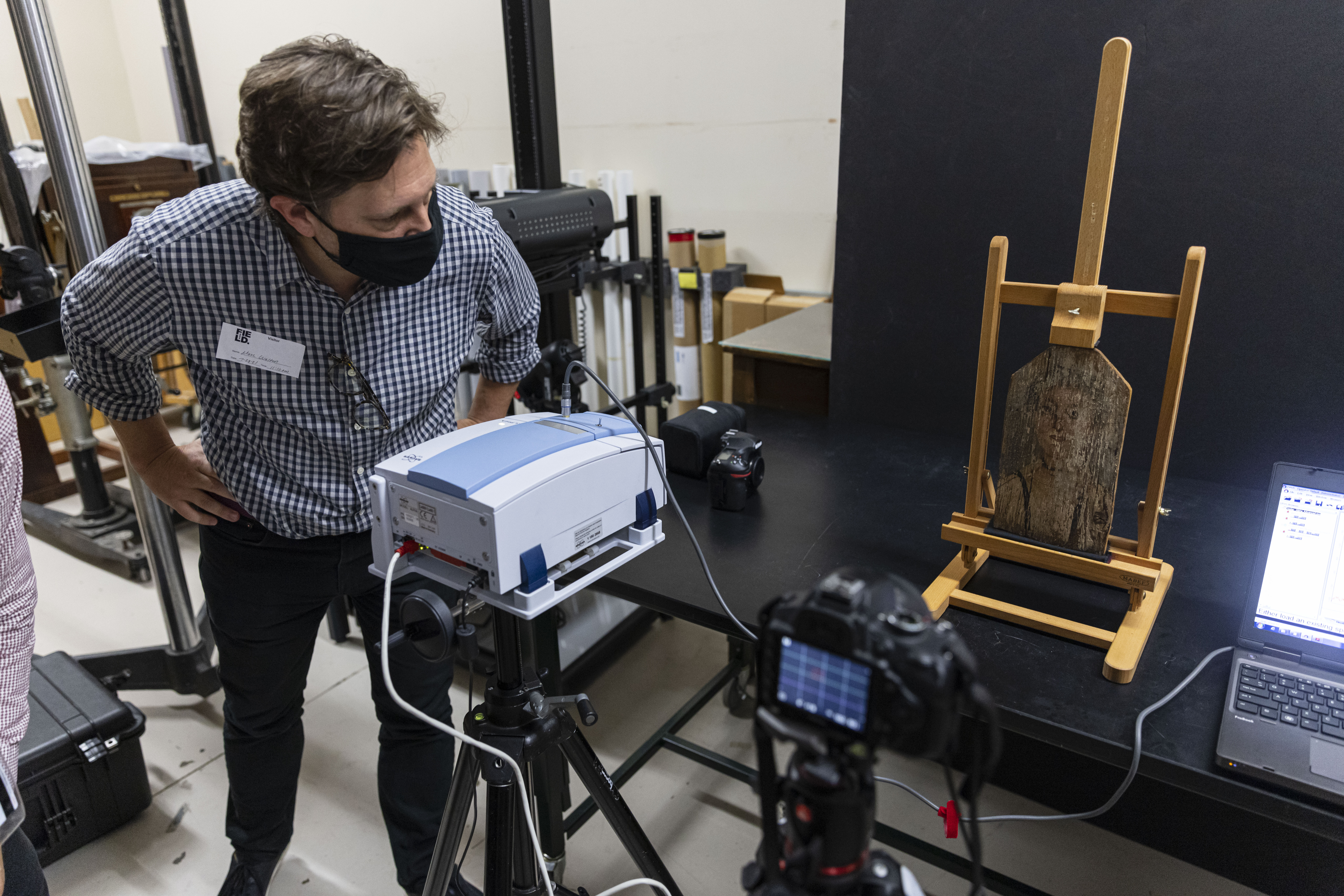 Marc Sebastian Walton of Northwestern University talks about their findings from a 2,000-year-old portrait that was part of the wrappings of an Egyptian mummy being researched at the Field Museum, Wednesday, July 28, 2021.