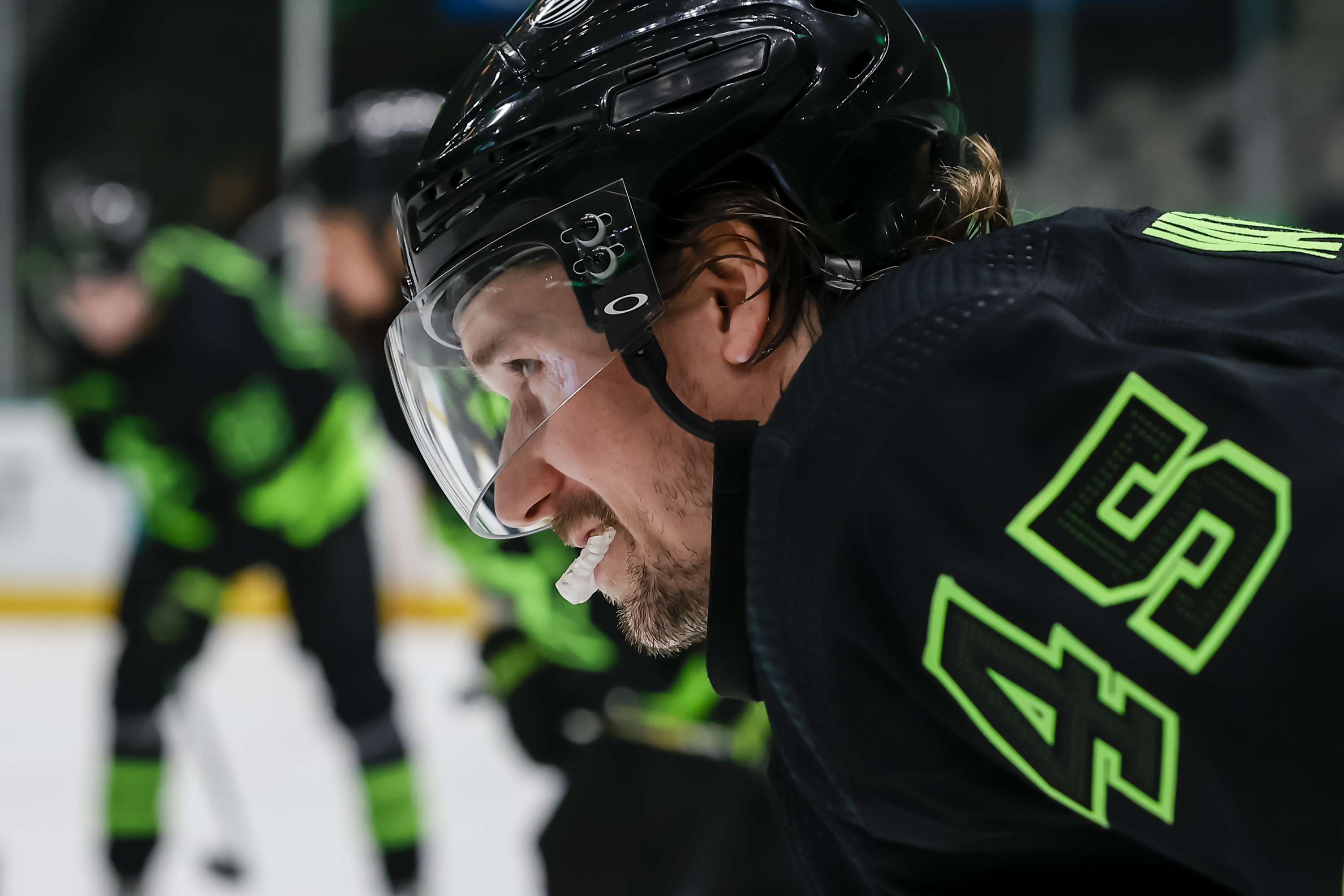 Dallas Stars defenseman Sami Vatanen (45) waits for play to start during the game between the Dallas Stars and the Carolina Hurricanes on April 26, 2021 at the American Airlines Center in Dallas, Texas.