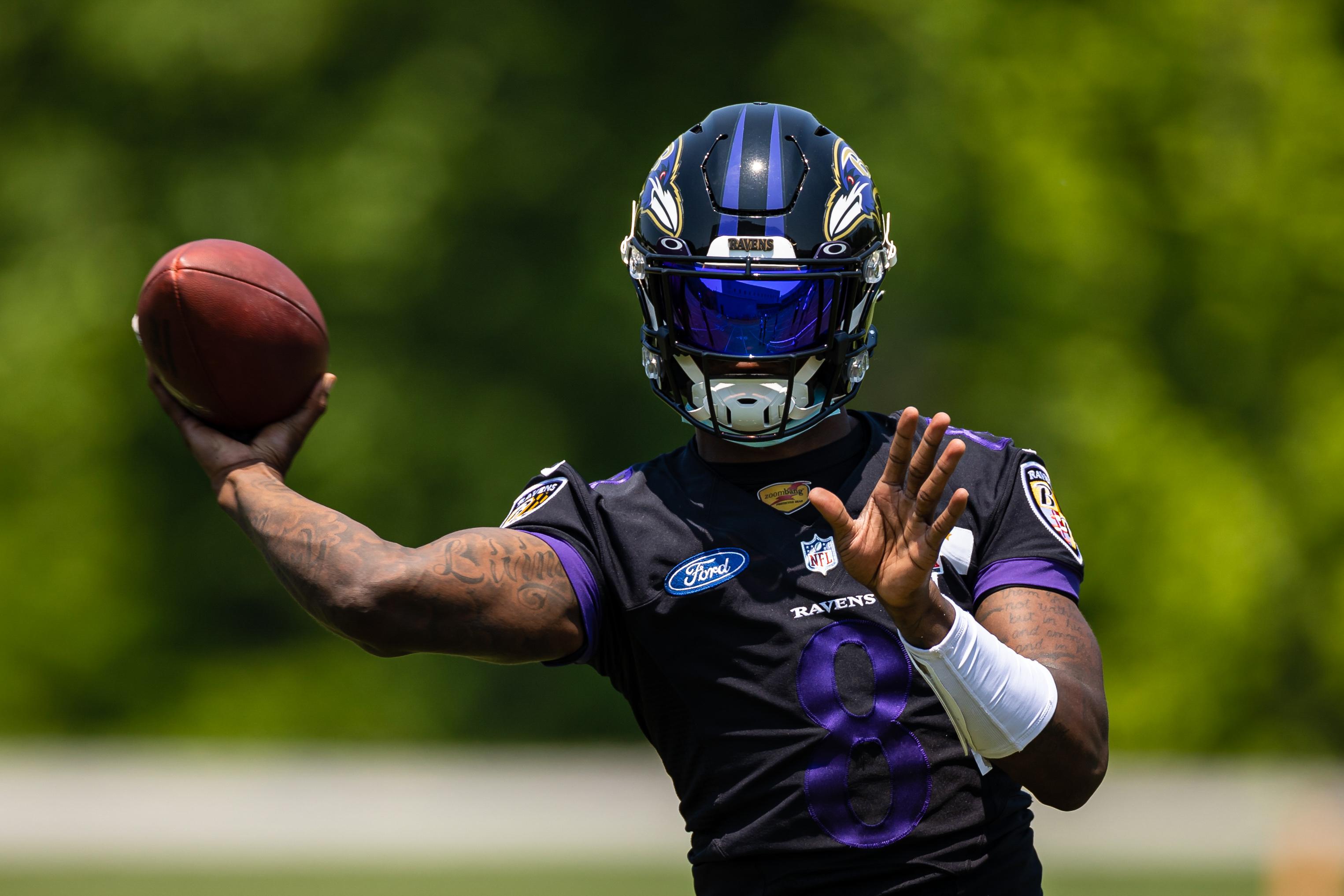 Owings Mills, Maryland, USA; Baltimore Ravens quarterback Lamar Jackson (8) passes the ball during an OTA at Under Armour Performance Center. Mandatory Credit: Scott Taetsch
