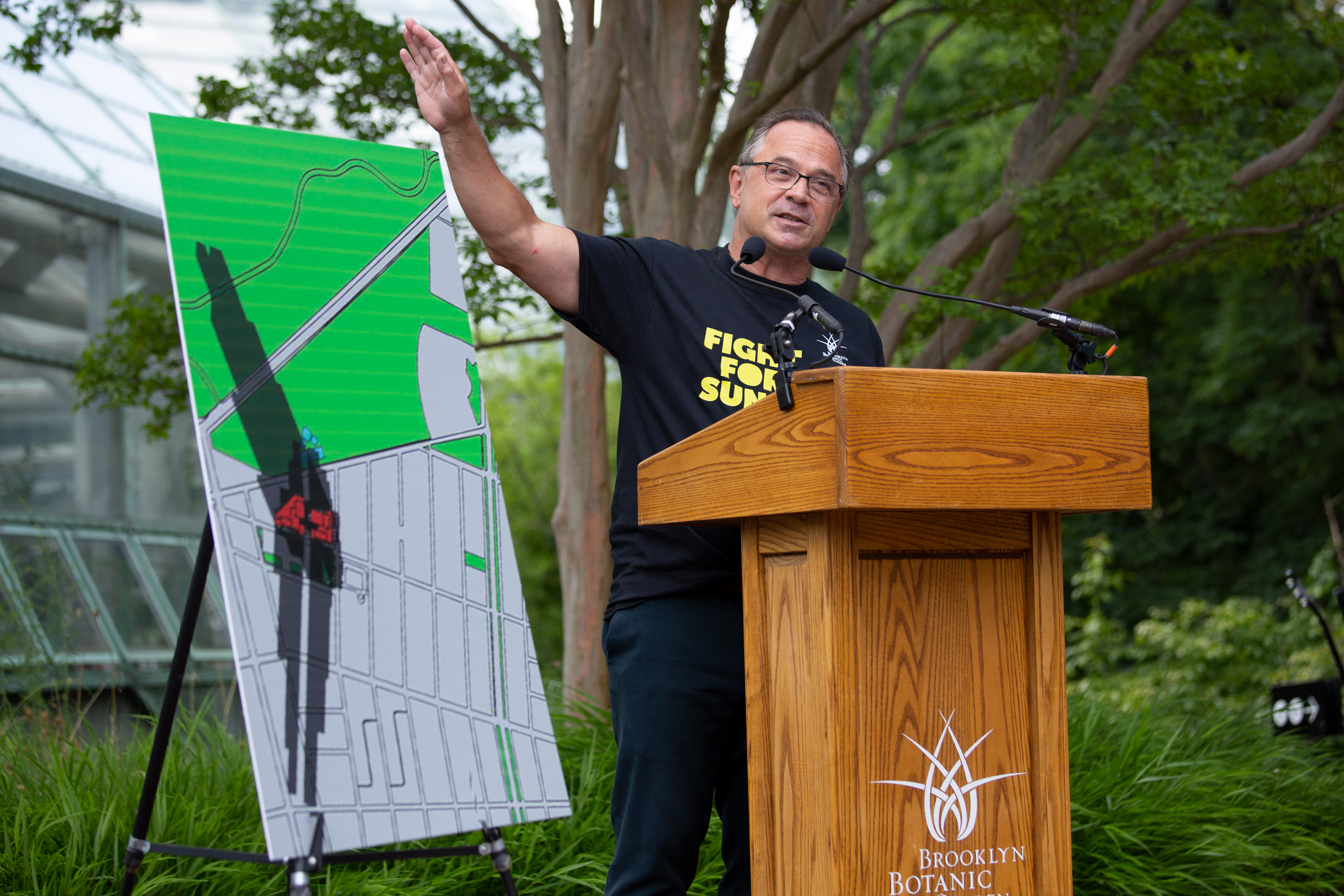 Brooklyn Botanic Garden President Adrian Benepe speaks about a proposed development he says would block vital sunlight for plants, July 28, 2021.
