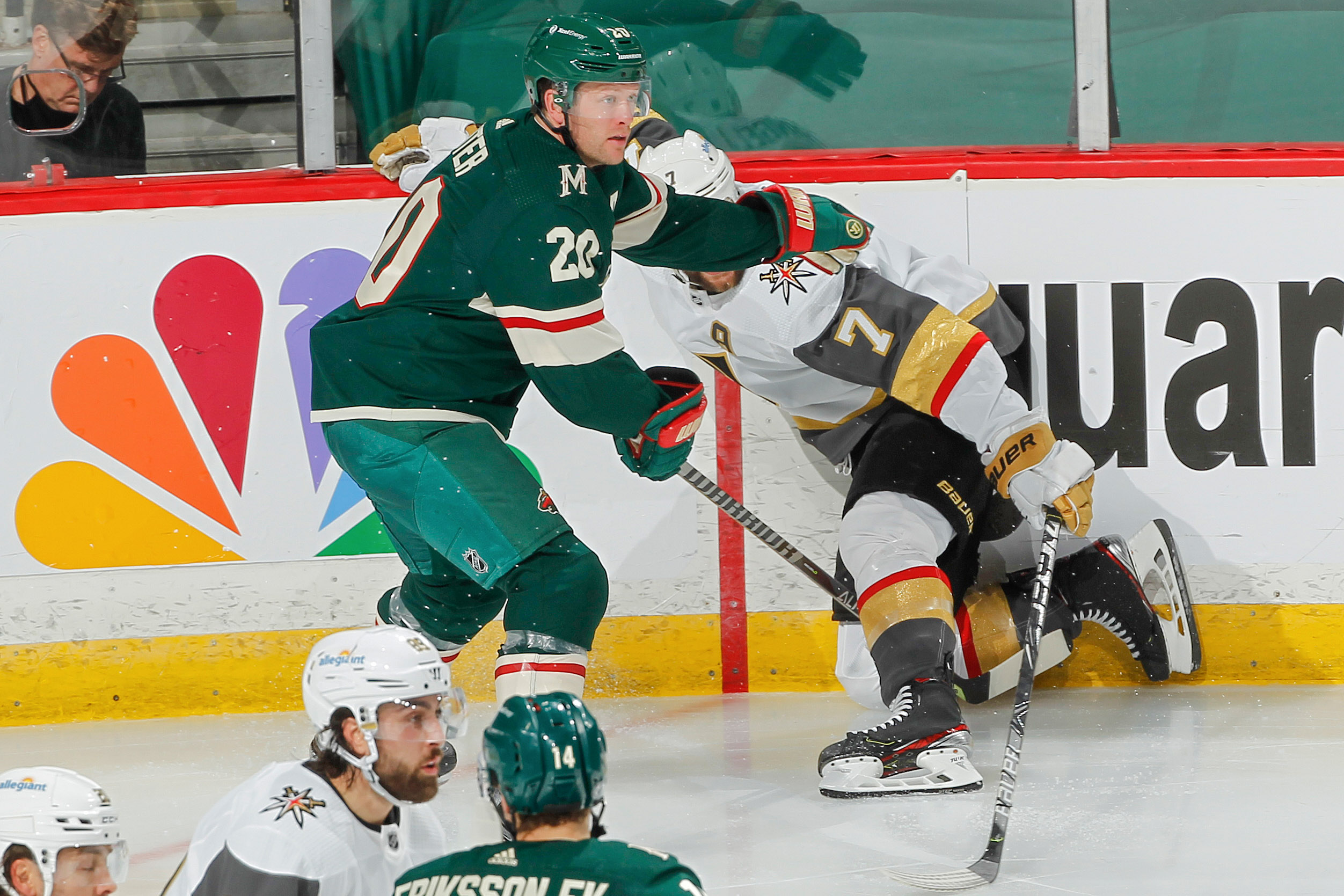 Ryan Suter defends against the Vegas Golden Knights in the 2021 Stanley Cup Playoffs.
