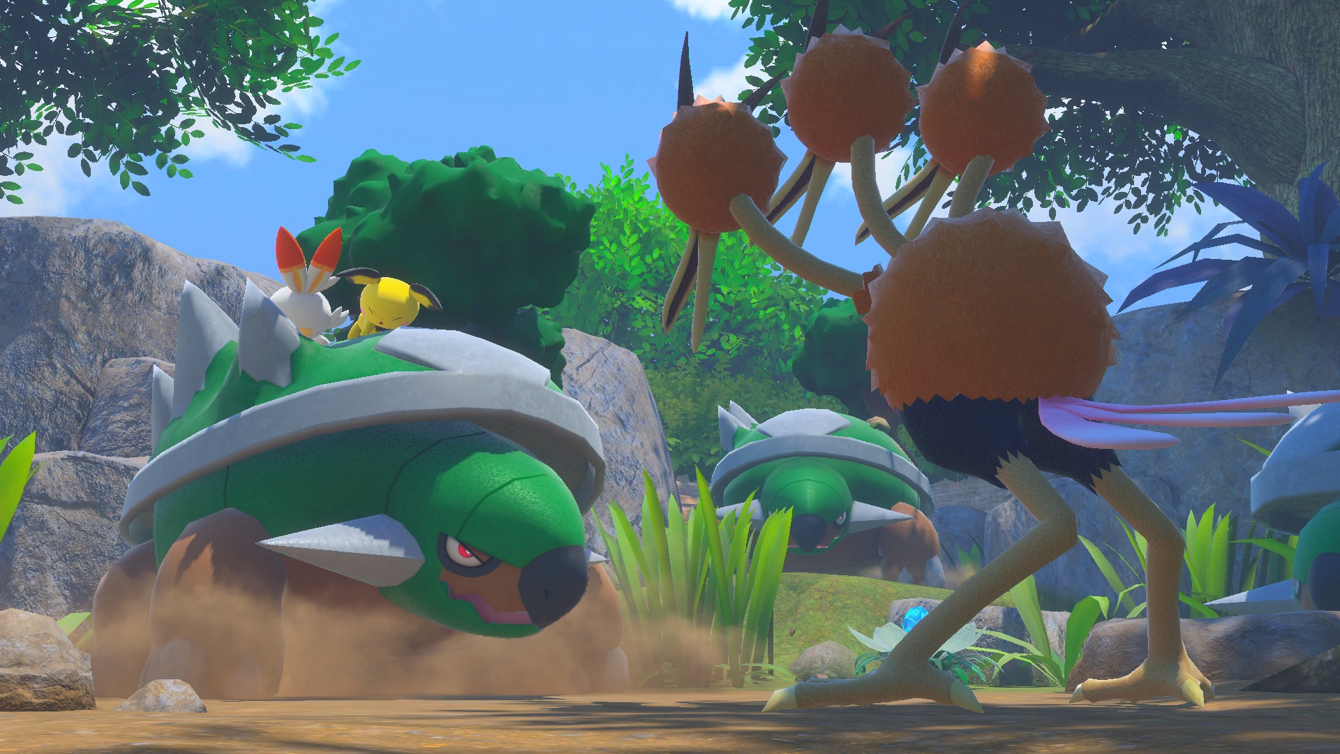 Pichu and Scorbunny ride on the back of a Torterra and face a Dodrio in New Pokémon Snap