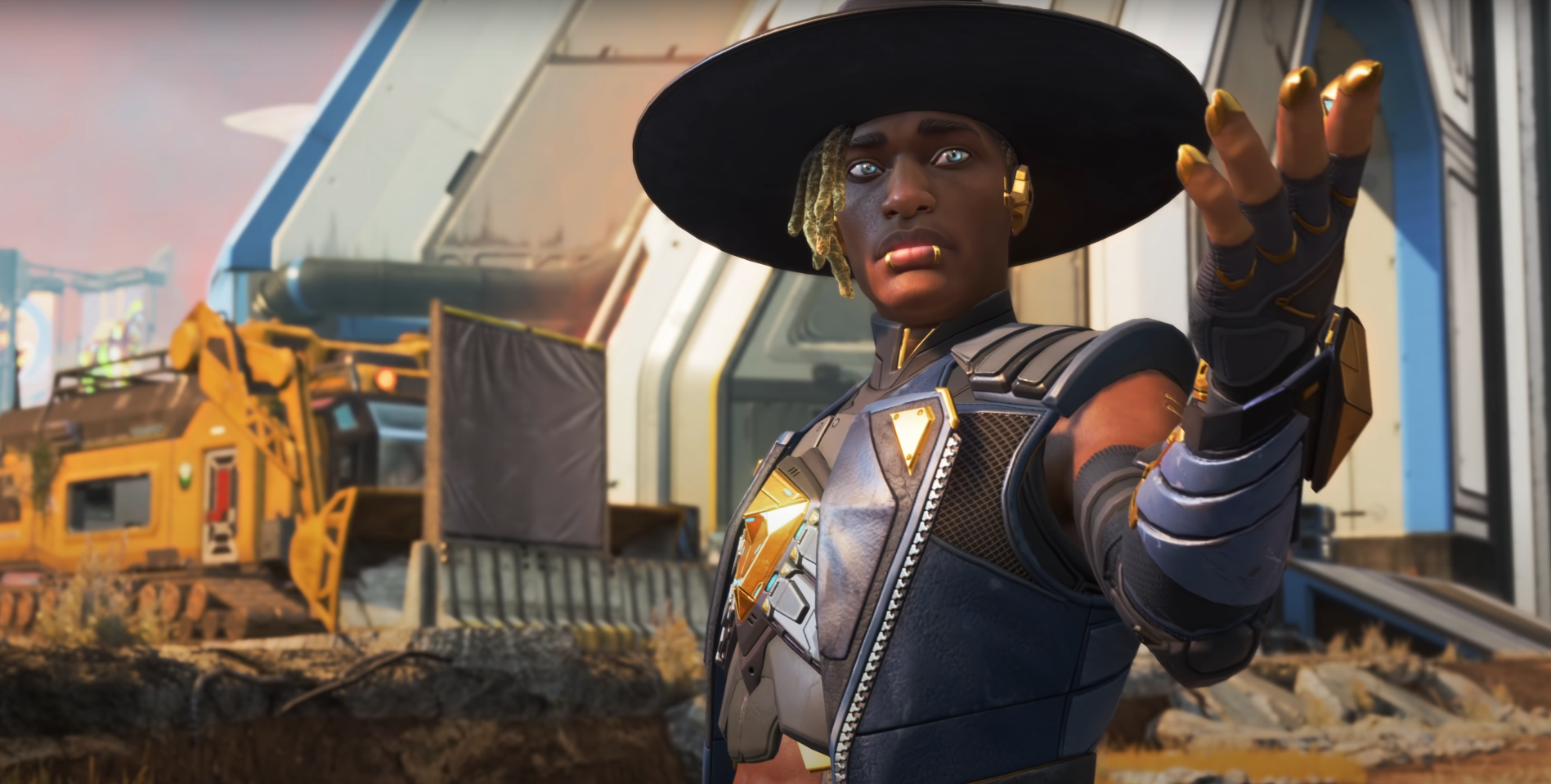 Seer from Apex Legends showing off in his trailer