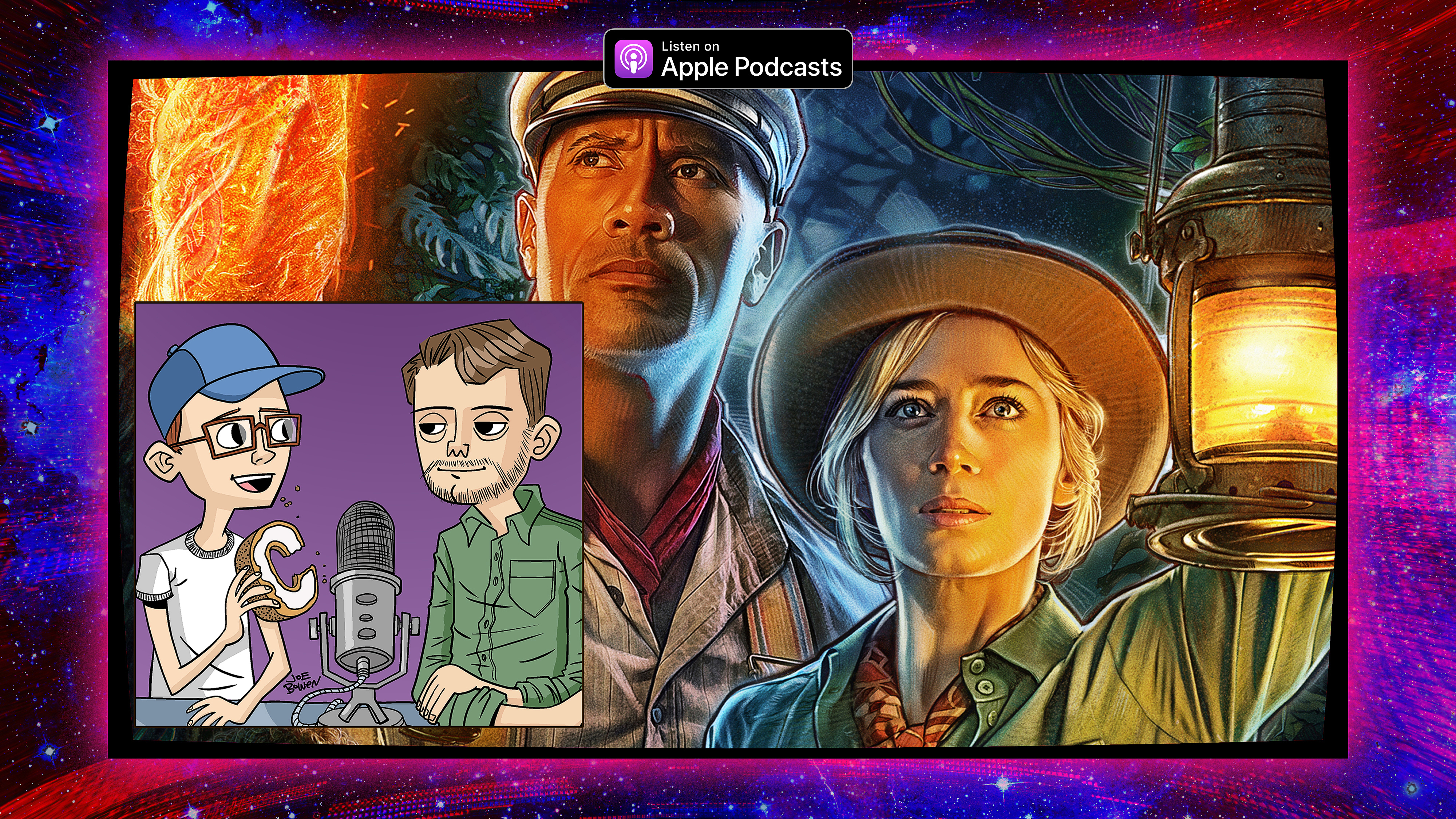 Graphic featuring the film poster for 'Jungle Cruise' and a cartoon of podcasters