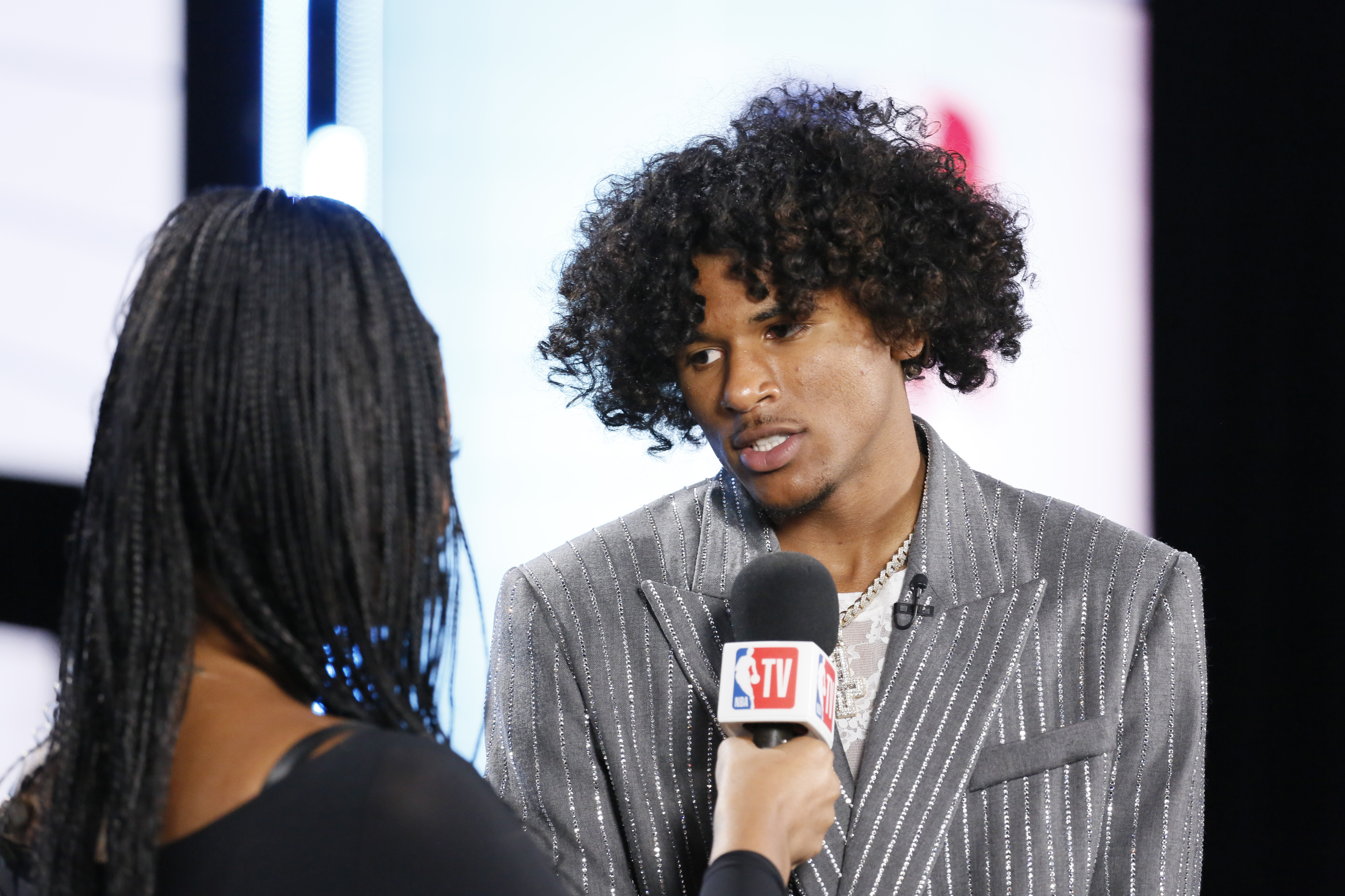 Jalen Green is interviewed before the 2021 NBA Draft on July 29, 2021 at Barclays Center in Brooklyn, New York.